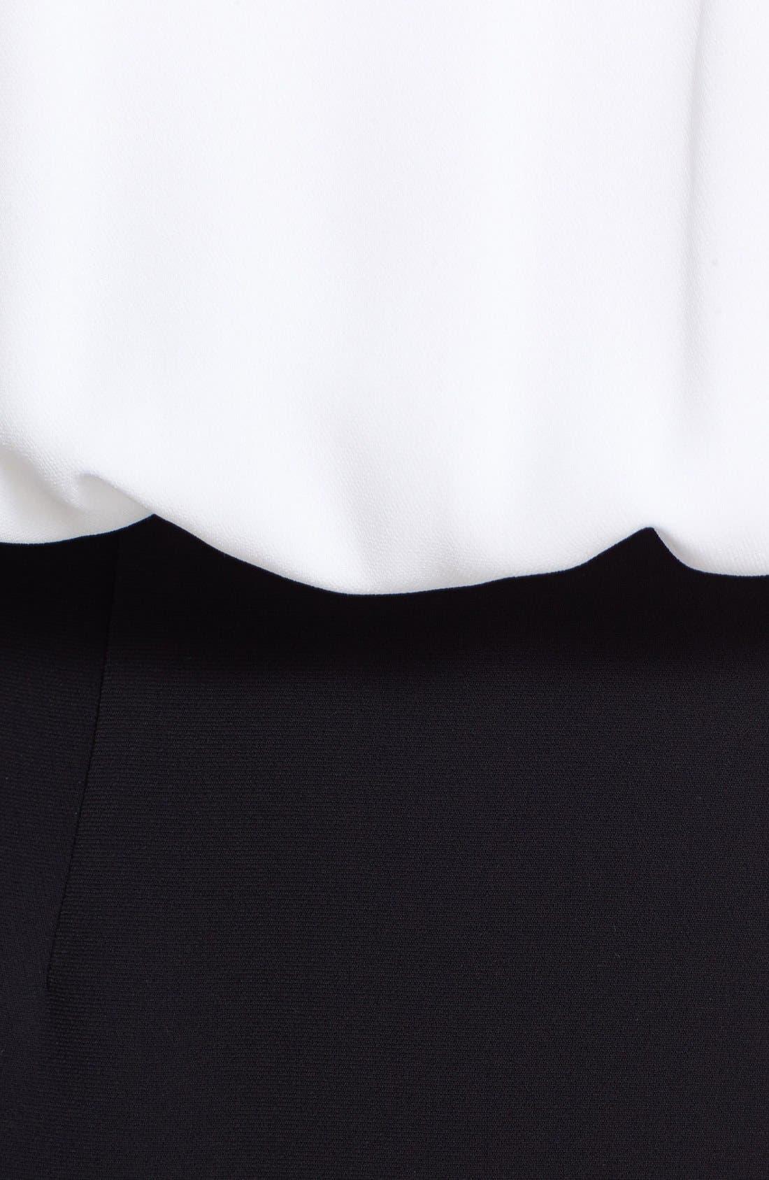 Open Back Crepe Blouson Dress,                             Alternate thumbnail 3, color,                             White/ Black