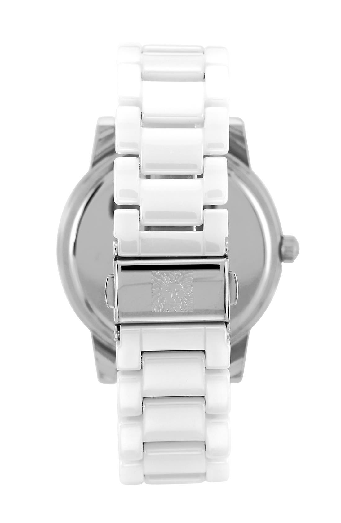 Alternate Image 2  - Anne Klein Crystal Bezel Multifunction Ceramic Bracelet Watch, 34mm