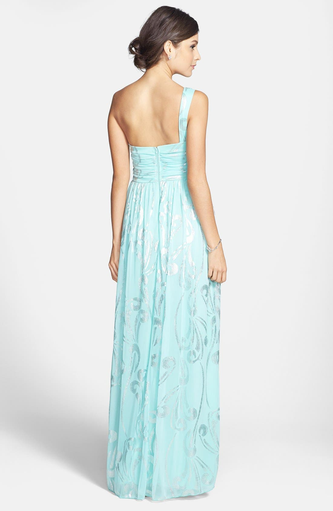 Alternate Image 2  - Way-In Foil Print One-Shoulder Gown (Juniors)
