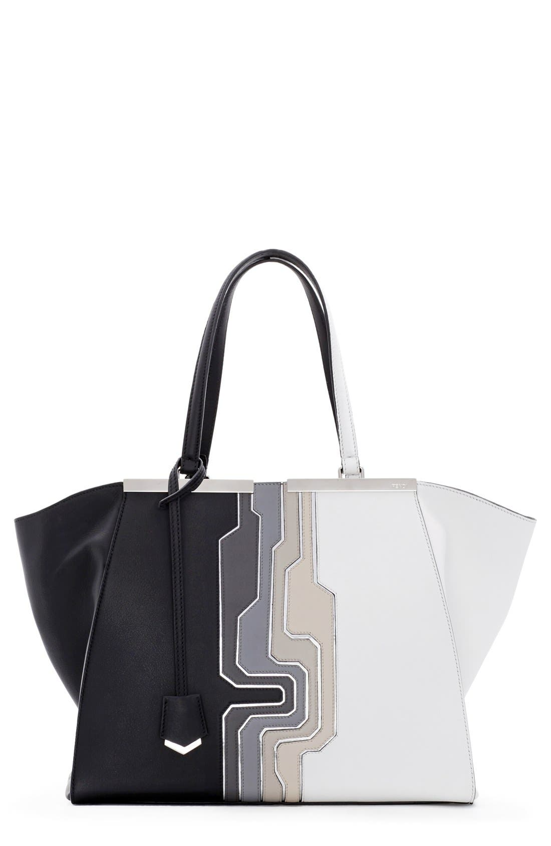 Main Image - Fendi '3Jours - Computer' Leather Shopper