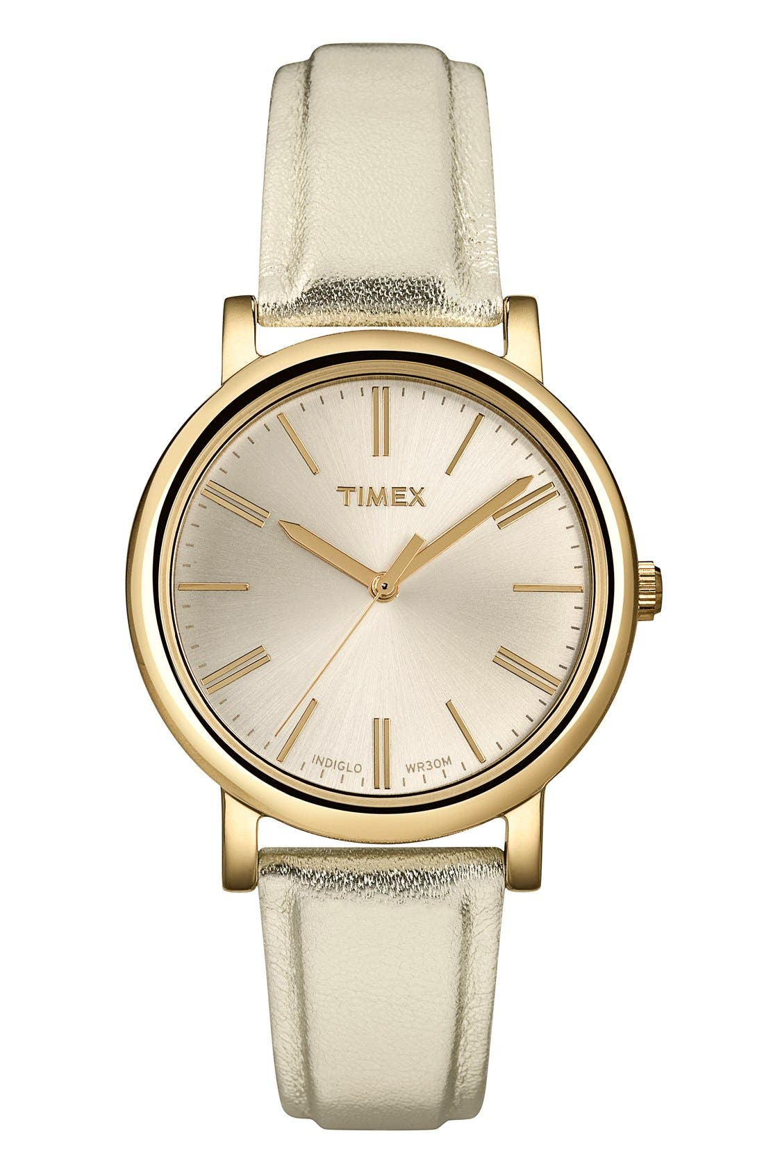 Main Image - Timex® Round Leather Strap Watch, 33mm