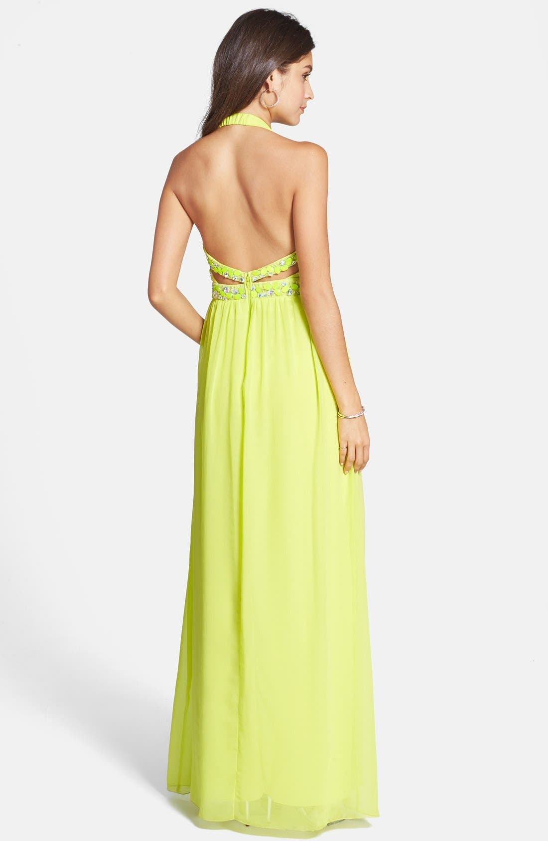 Alternate Image 2  - Way-In Embellished Cutout Halter Gown (Juniors)
