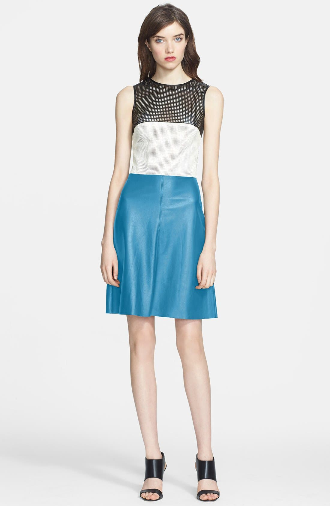 Main Image - L'AGENCE Colorblock Leather Mesh Dress