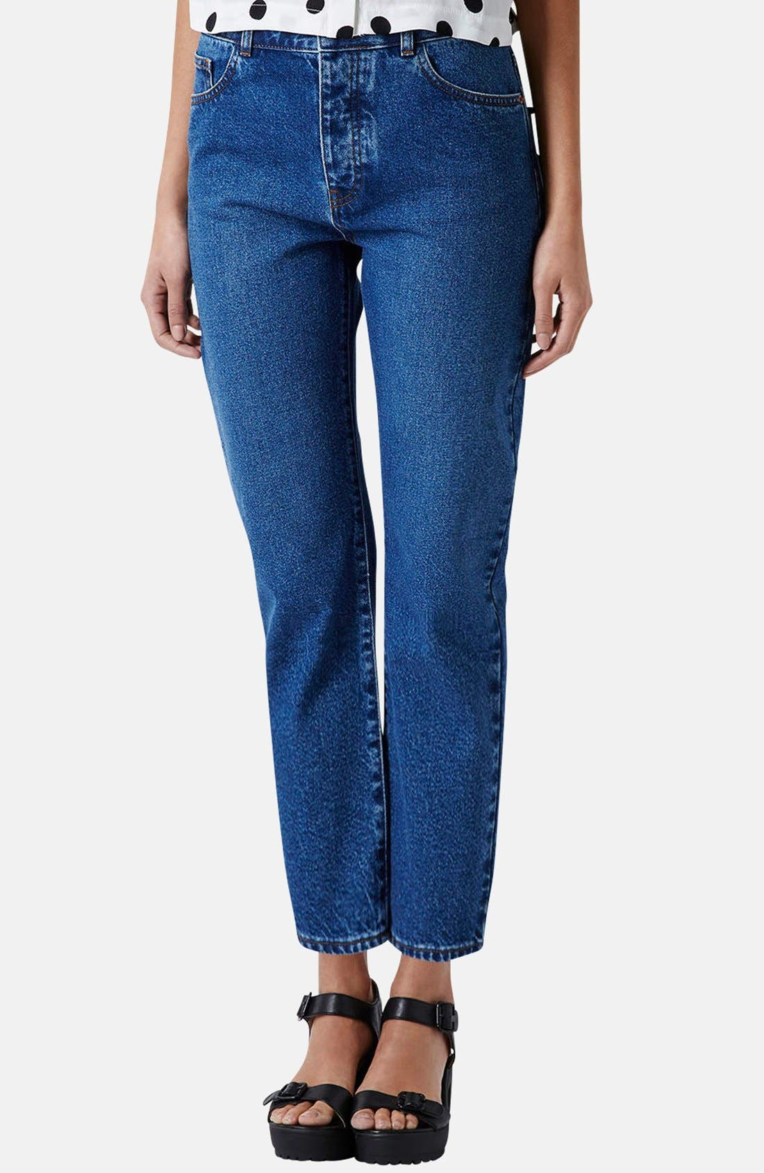 Main Image - Topshop Moto Girlfriend Jeans (Blue)