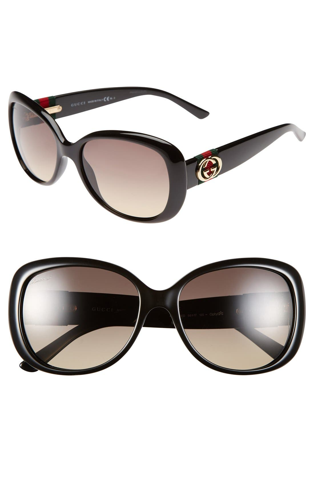 Alternate Image 1 Selected - Gucci 56mm Oversized Sunglasses