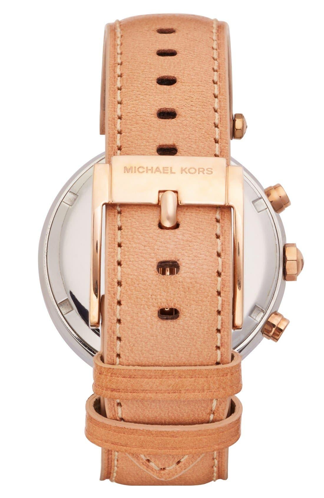 Alternate Image 2  - Michael Kors 'Parker' Chronograph Leather Watch, 39mm