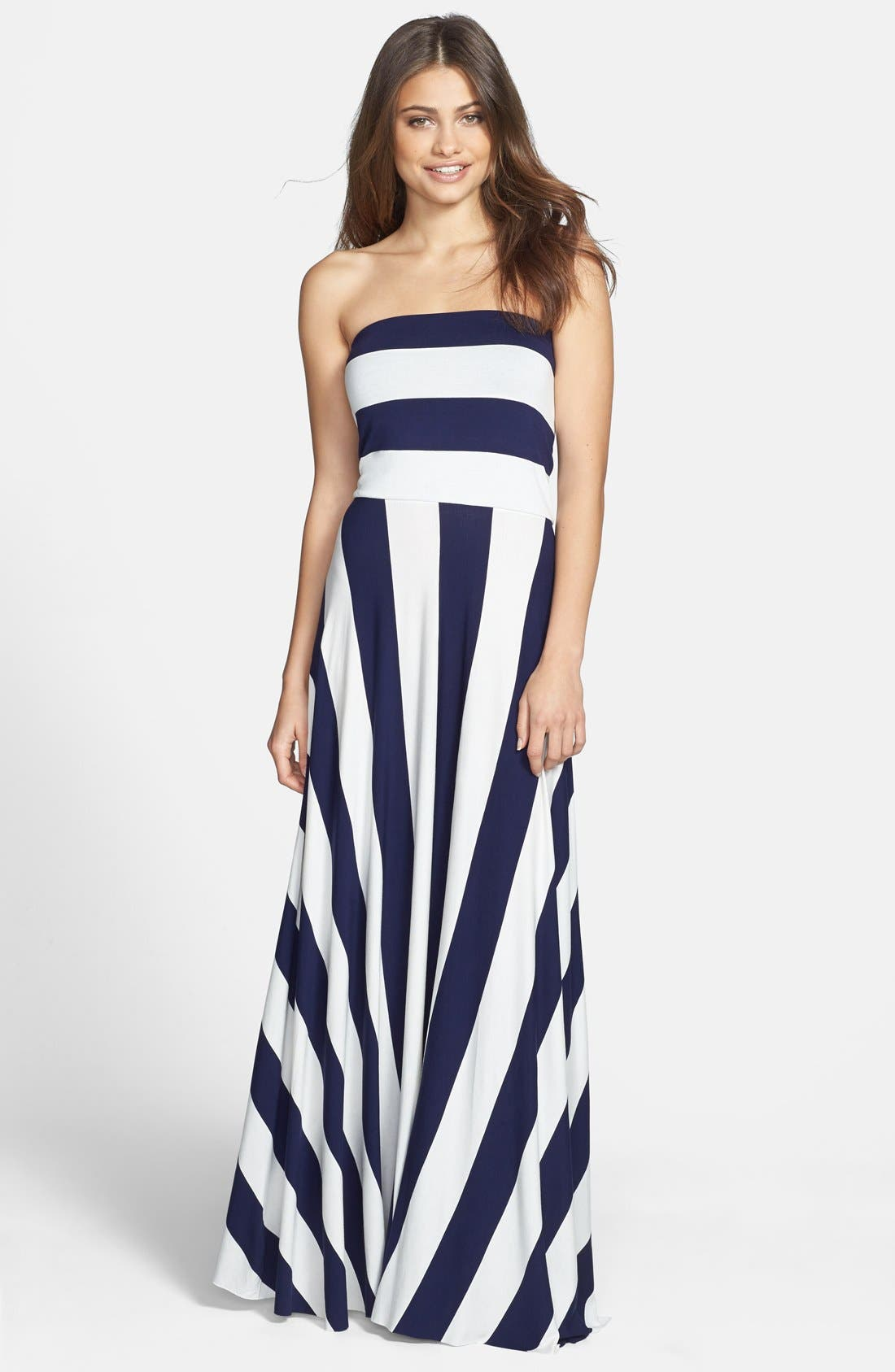 Alternate Image 1 Selected - Elan Stripe Convertible Bias Cut Cover-Up Maxi Dress