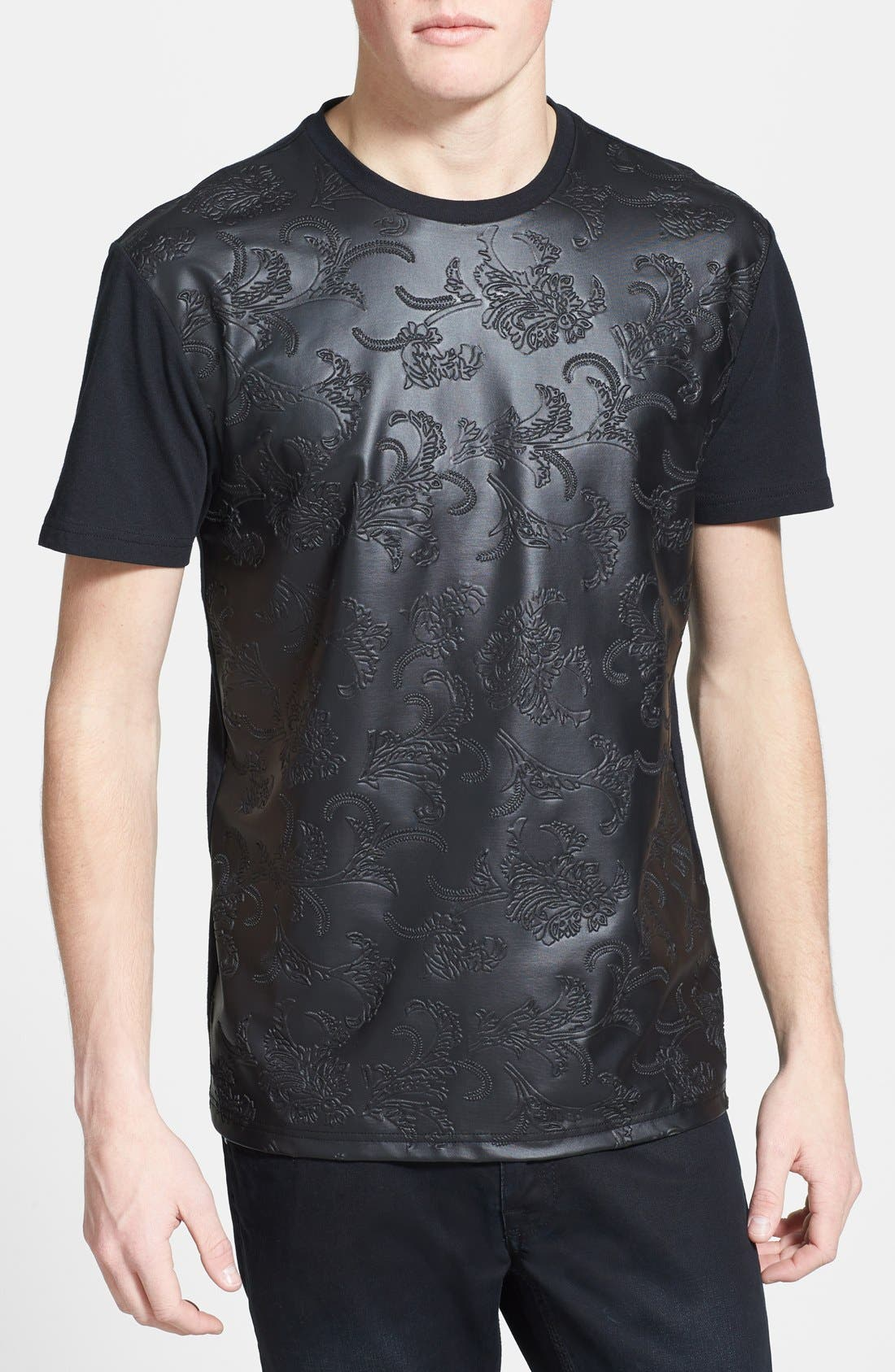 Main Image - Topman Embossed Faux Leather Panel Crewneck T-Shirt