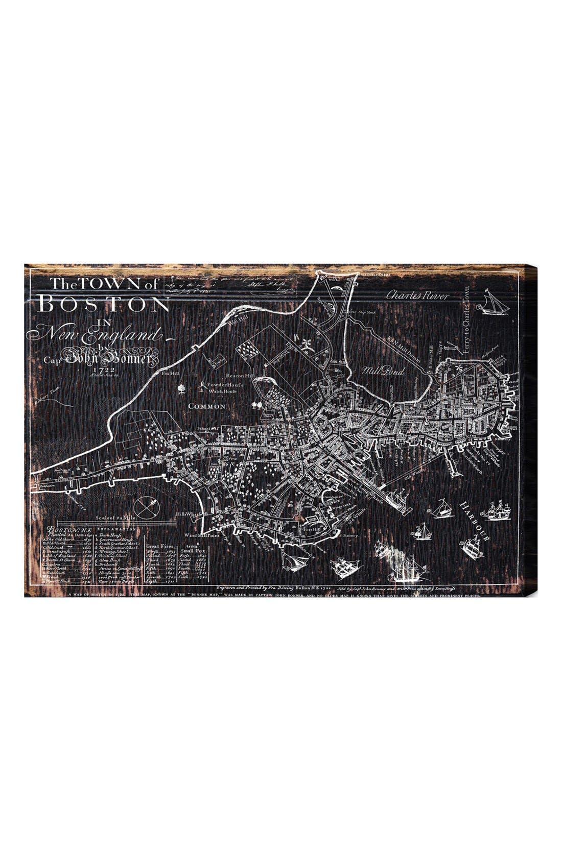 'Town of Boston Map 1722' Wall Art,                             Main thumbnail 1, color,                             Grey