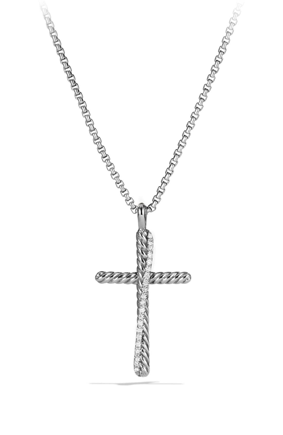 'Crossover' Cross Necklace,                         Main,                         color, Diamond