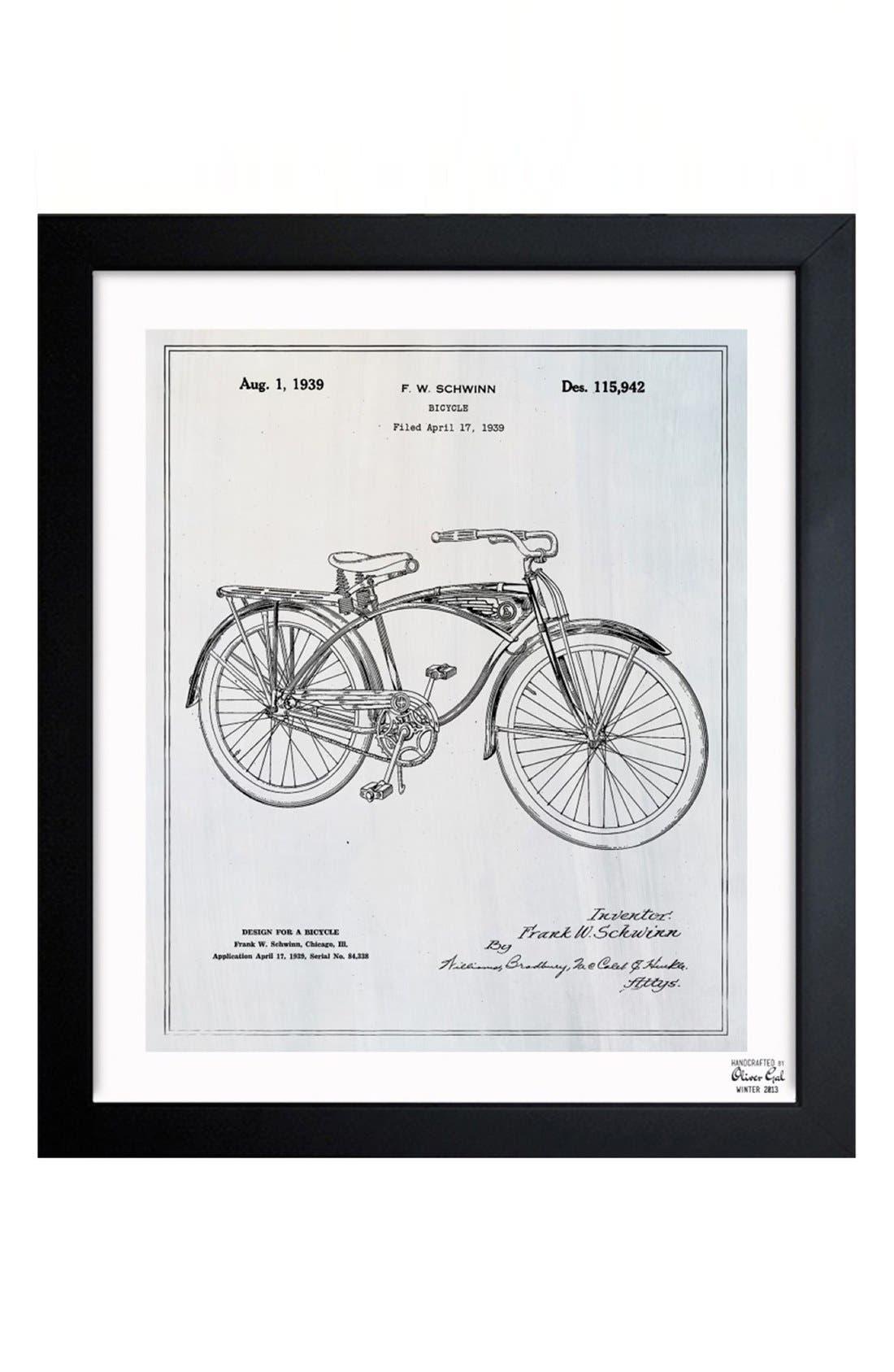 'Bicycle Blueprint' Framed Print,                         Main,                         color, Grey