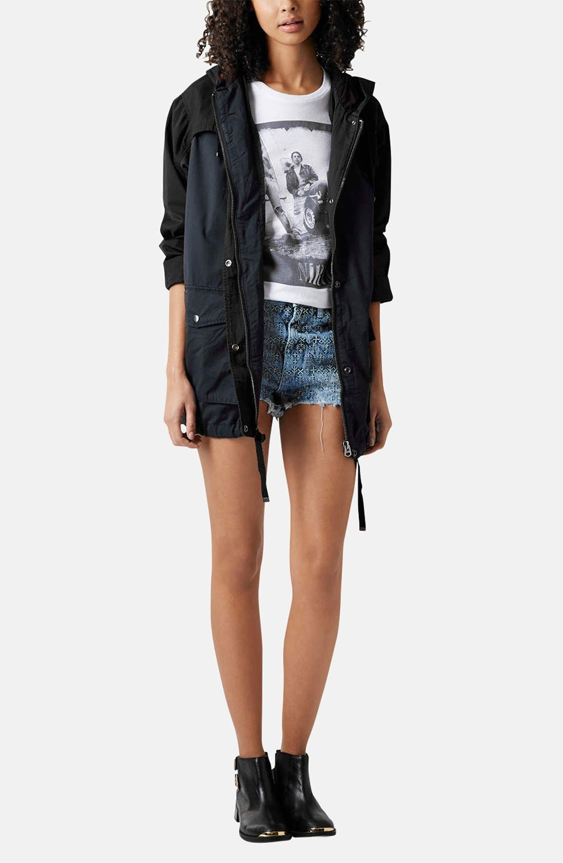 Alternate Image 5  - Topshop Moto 'Folk Law' Embroidered Denim Shorts