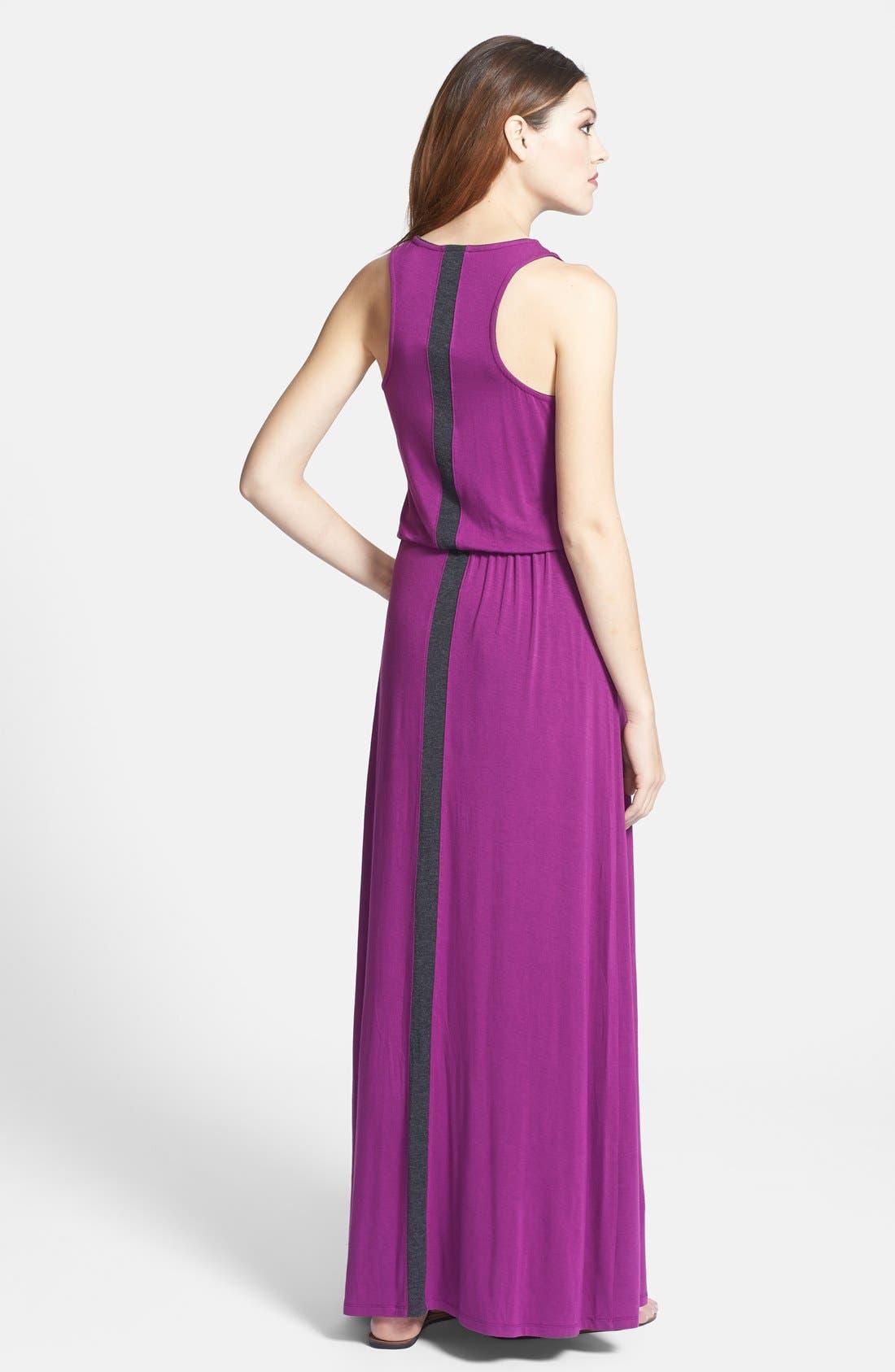 Contrast Stripe Racerback Maxi Dress,                             Alternate thumbnail 2, color,                             Purple Phlox/ Heather Charcoal