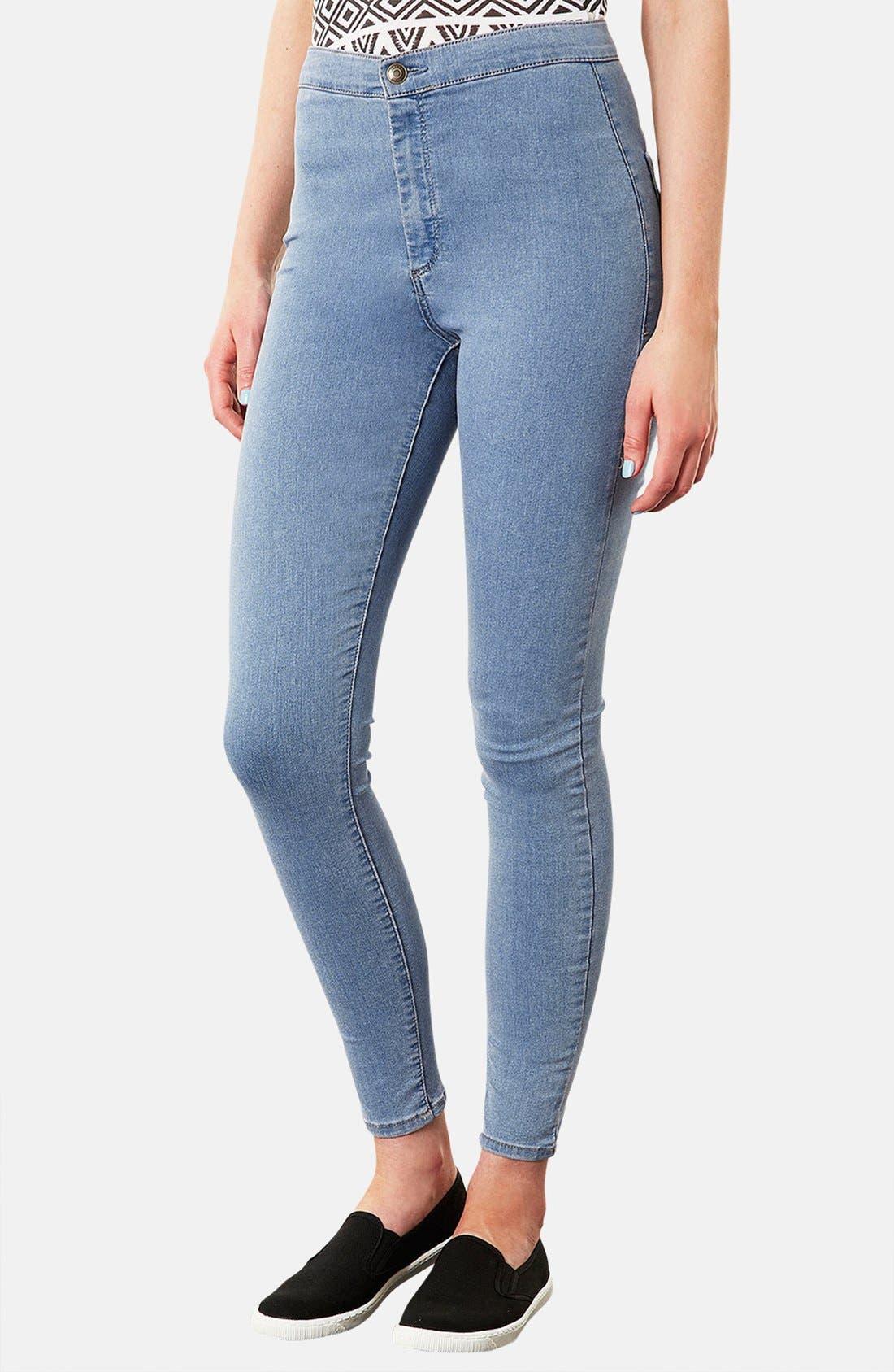 Main Image - Topshop Moto 'Joni' High Rise Skinny Jeans (Mid Stone)