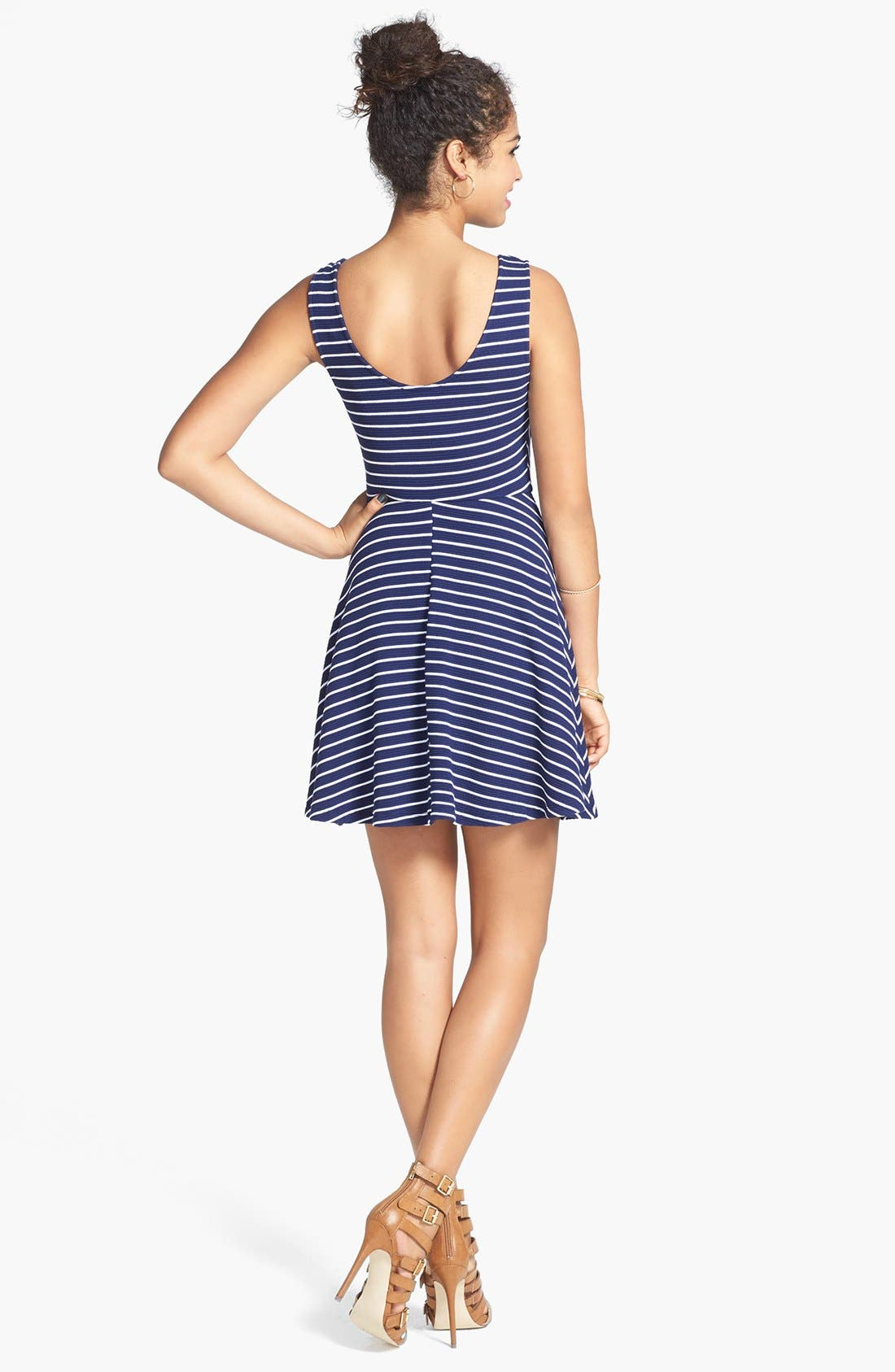 Alternate Image 2  - Lush Knit Tank Skater Dress (Juniors)