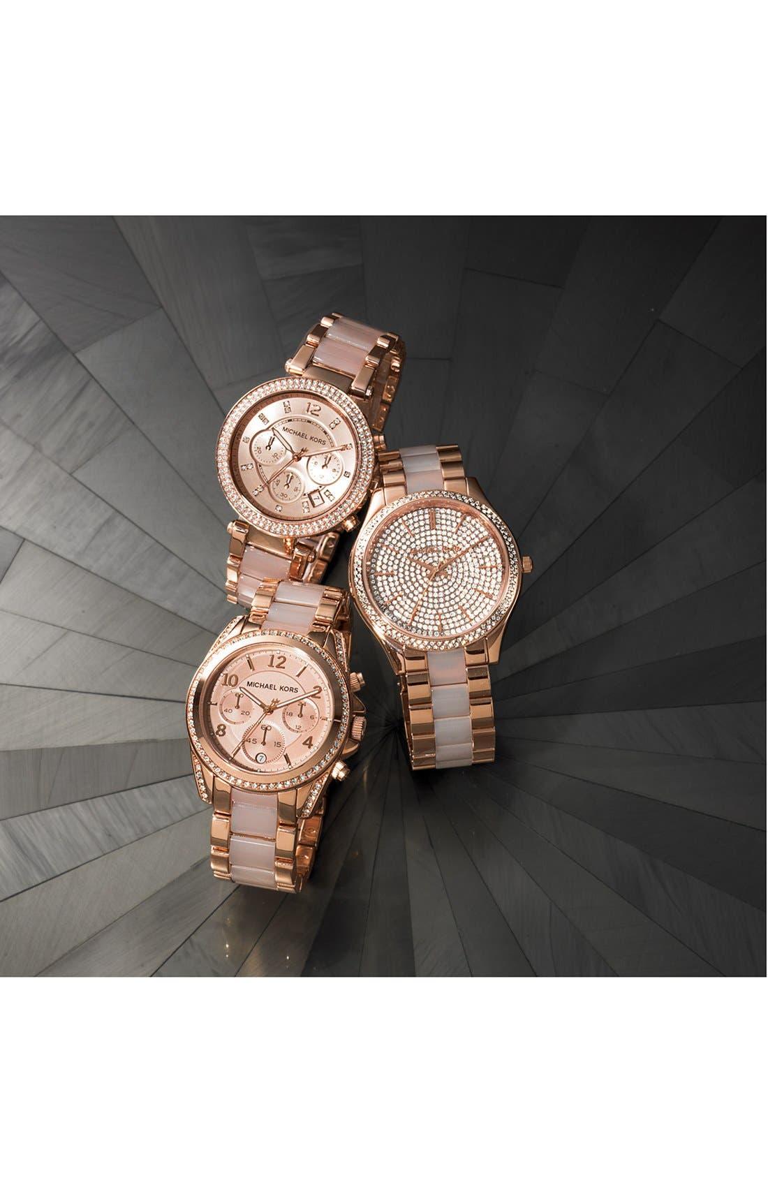 Alternate Image 4  - Michael Kors 'Slim Runway' Pavé Dial Blush Acetate Link Bracelet Watch, 42mm