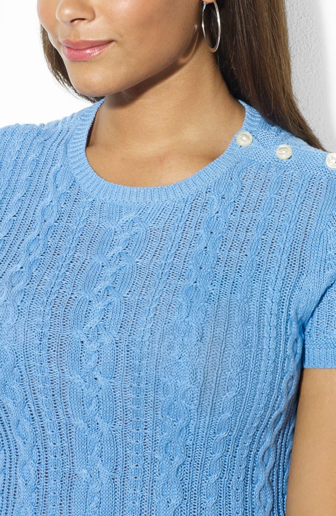 Alternate Image 3  - Lauren Ralph Lauren Button Shoulder Crewneck Cable Knit Sweater (Plus Size)