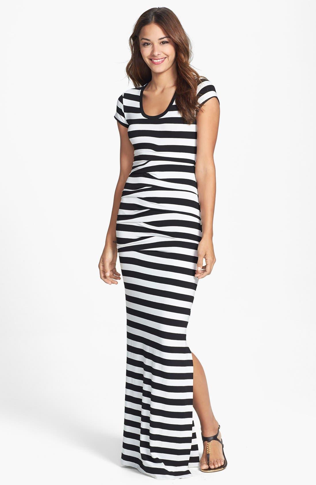 Main Image - Nicole Miller 'Vanessa' Stripe Tidal Pleat Jersey Maxi Dress