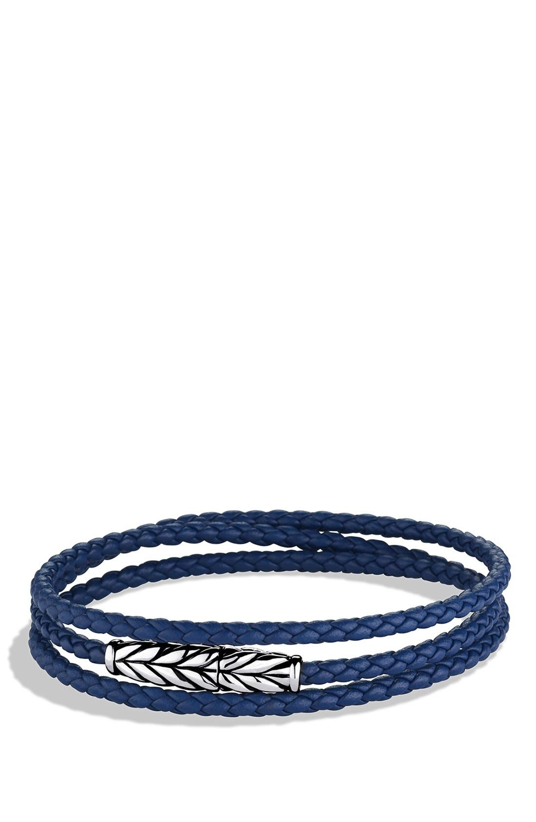 'Chevron' Triple-Wrap Bracelet,                             Main thumbnail 1, color,                             Blue