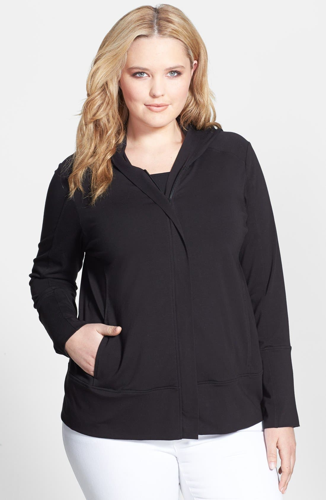 Alternate Image 1 Selected - Eileen Fisher Organic Cotton Blend Jacket (Plus Size)