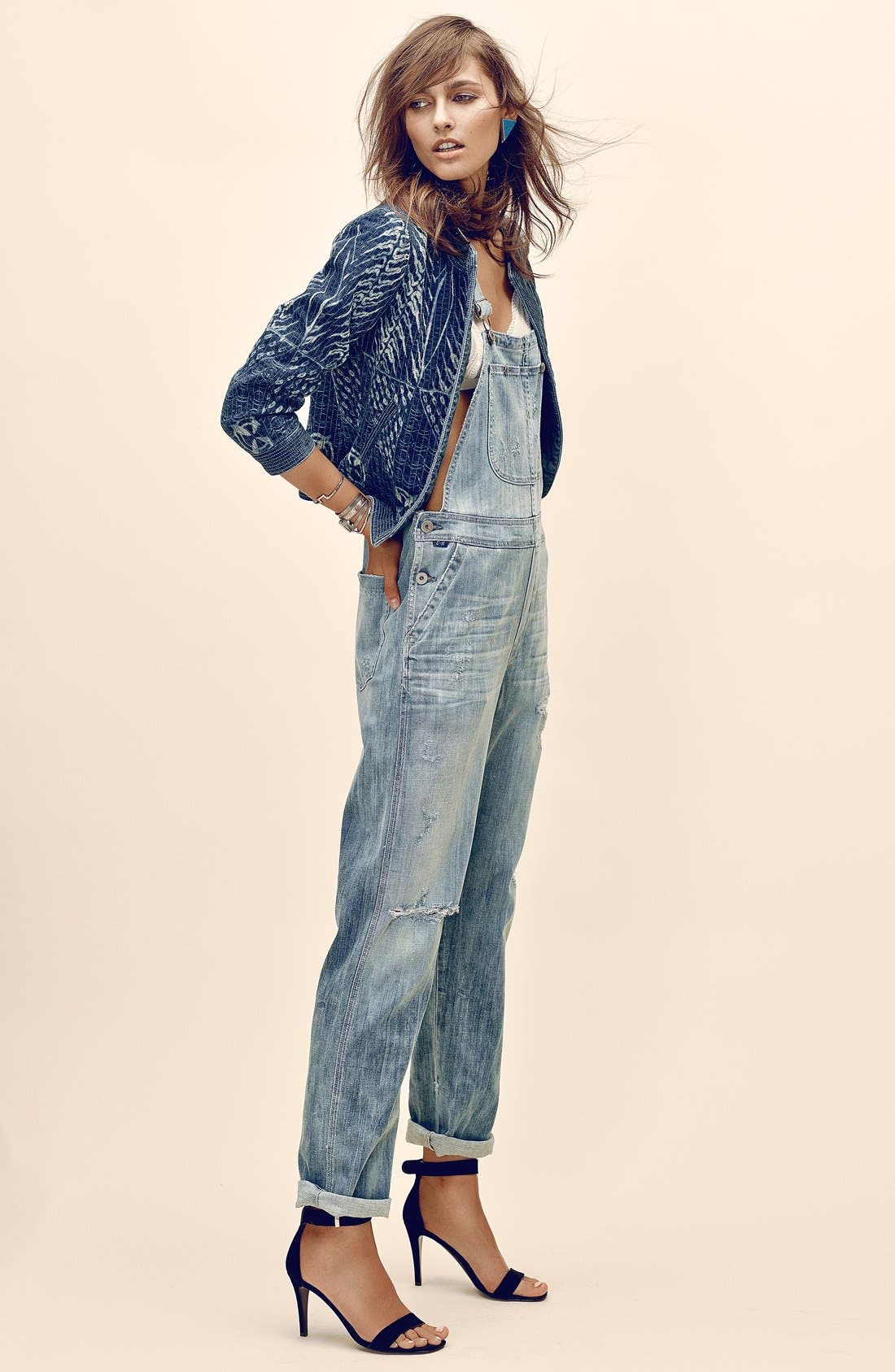 'Quincey' Distressed Denim Overalls,                             Alternate thumbnail 4, color,                             Sun Bleach