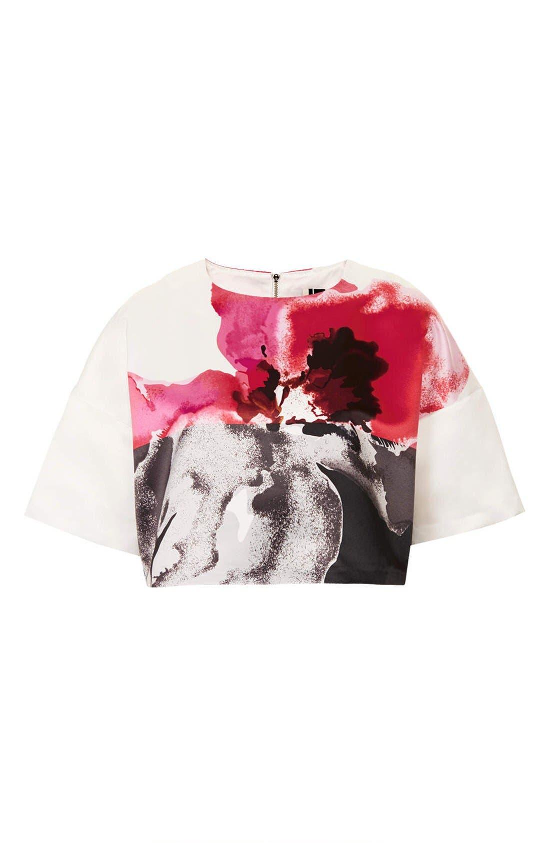 Alternate Image 3  - Topshop Floral Print Crop Tee