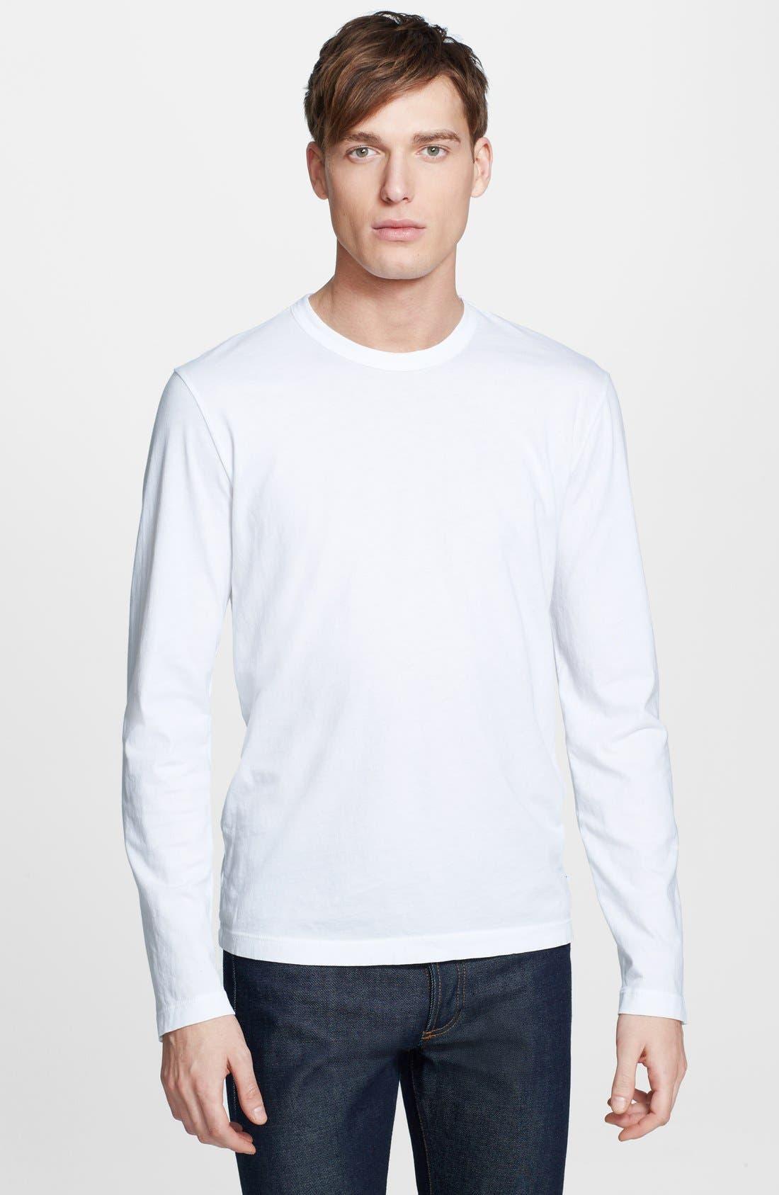 Long Sleeve Crewneck T-Shirt,                         Main,                         color, White