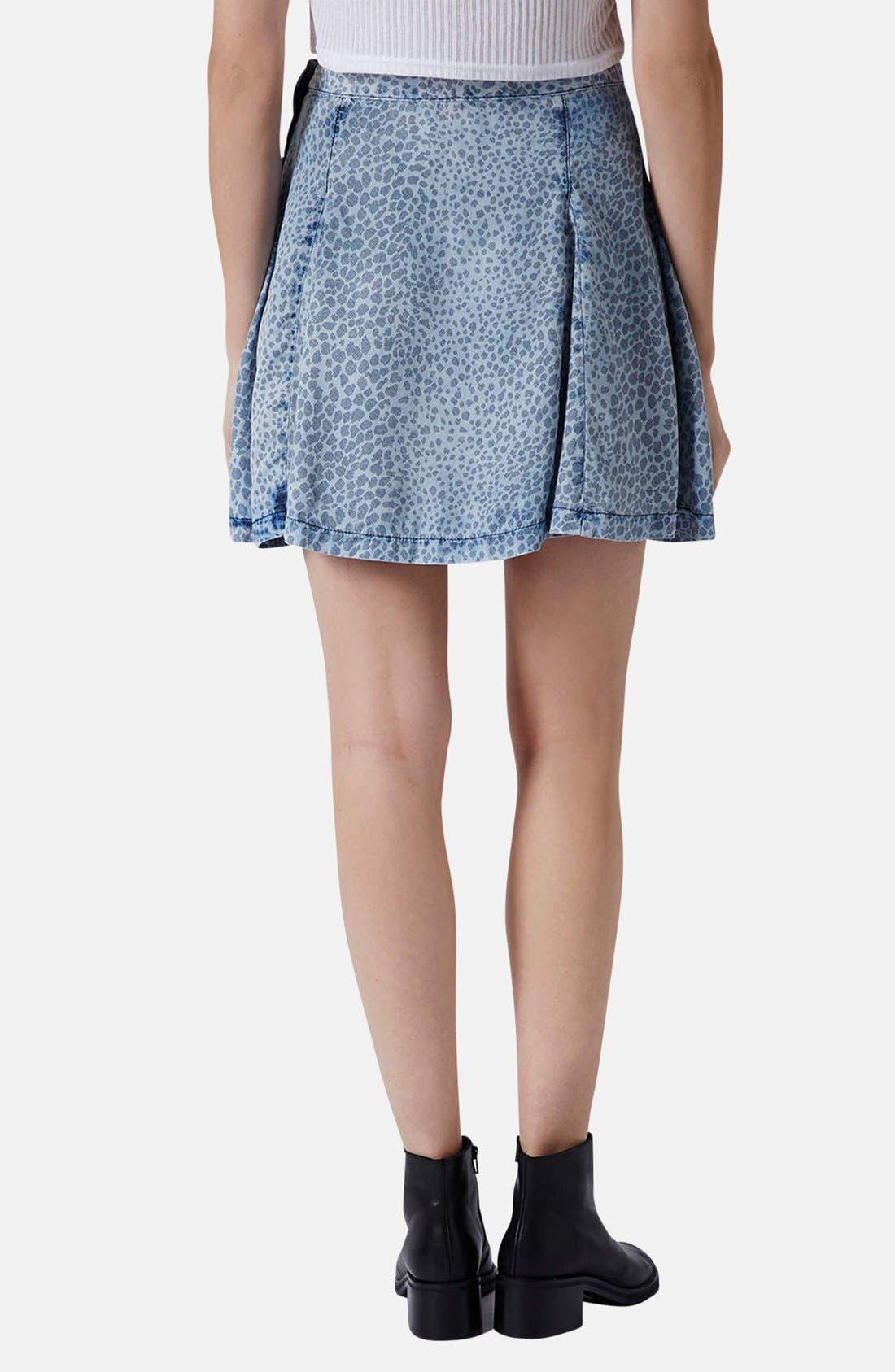 Alternate Image 2  - Topshop Leopard Print Denim Skater Skirt