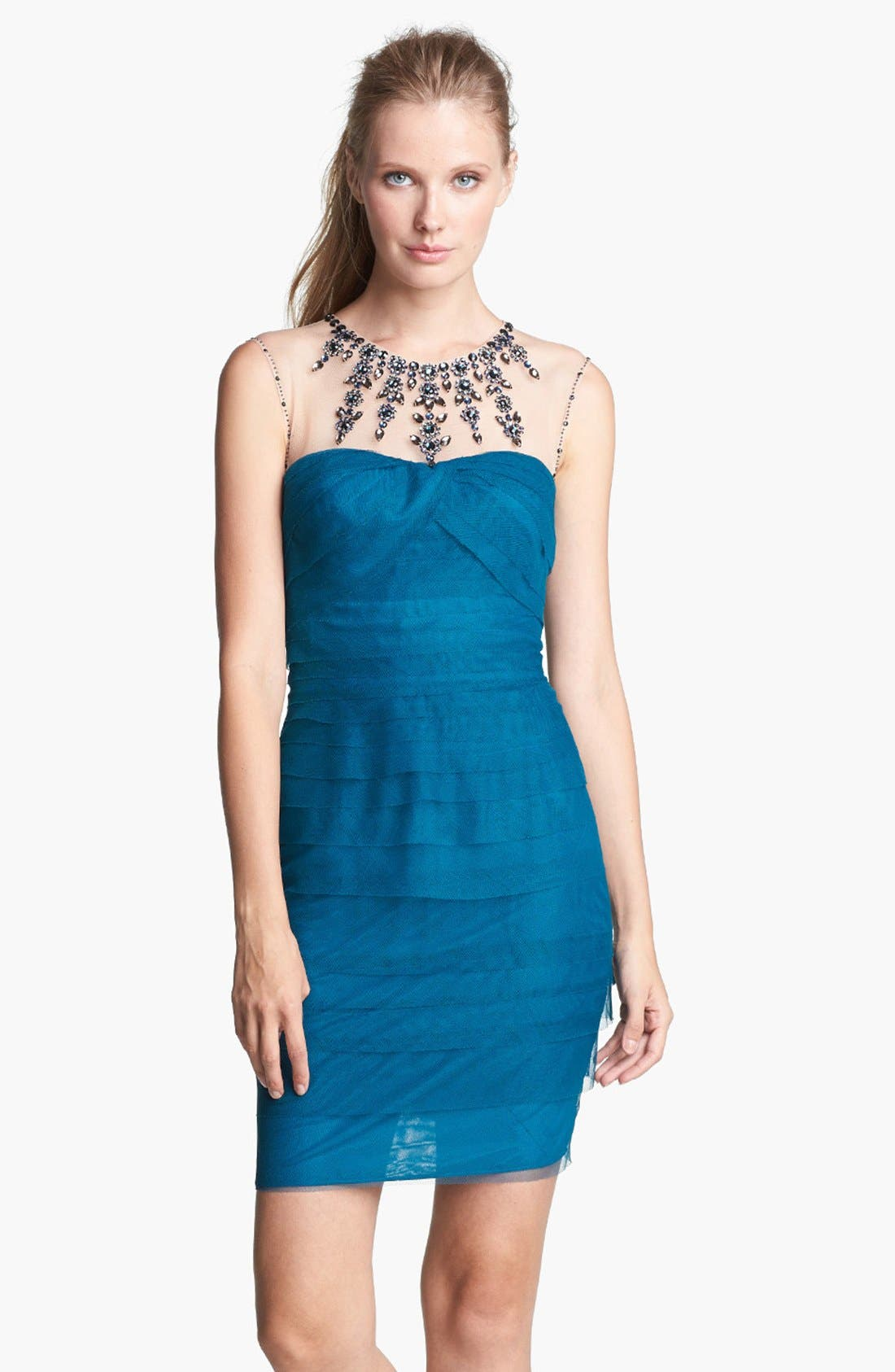 Alternate Image 1 Selected - Adrianna Papell Embellished Tiered Mesh Sheath Dress