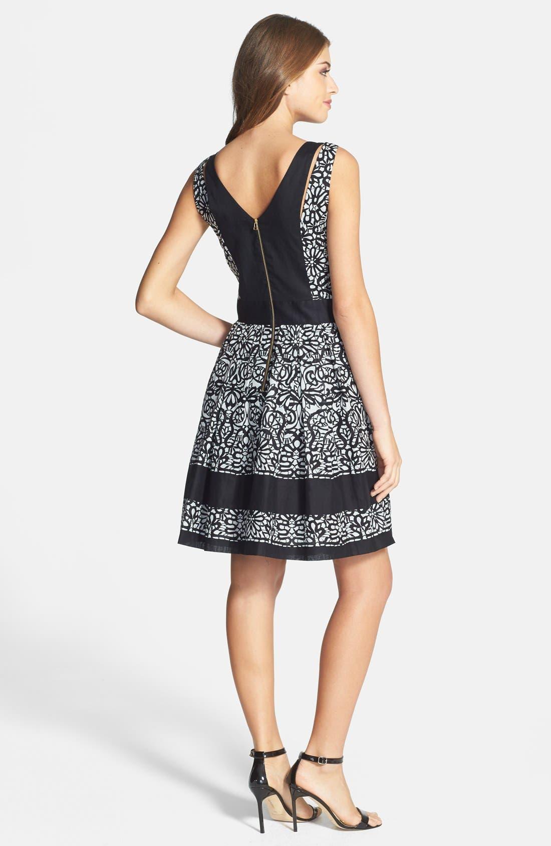 Alternate Image 2  - Taylor Dresses Print Cotton Voile Fit & Flare Dress
