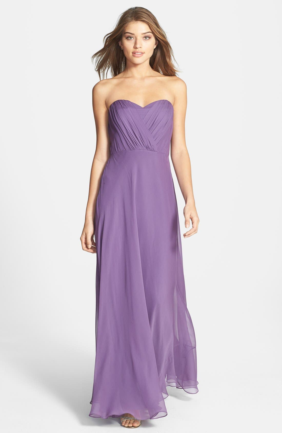 Alternate Image 1 Selected - Vera Wang Shirred Chiffon Gown