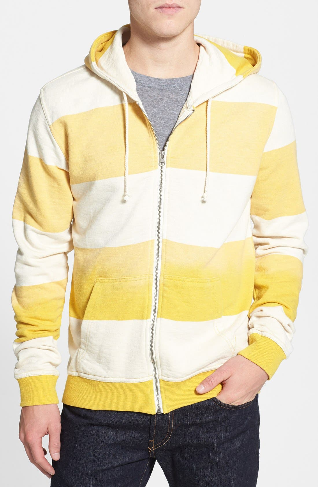Alternate Image 1 Selected - Threads for Thought Stripe Slub Terry Zip Hoodie