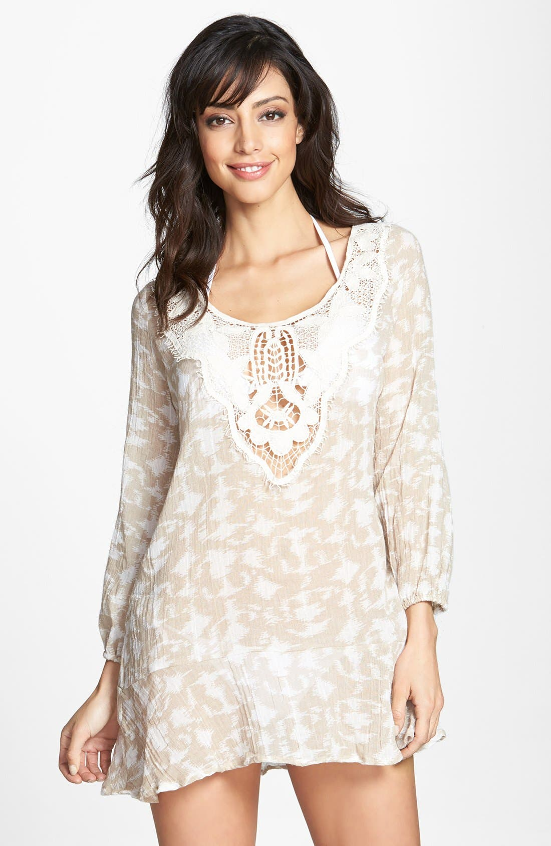 Main Image - Eberjey 'Hidden Cove Natalya' Lace Trim Ikat Cover-Up Dress