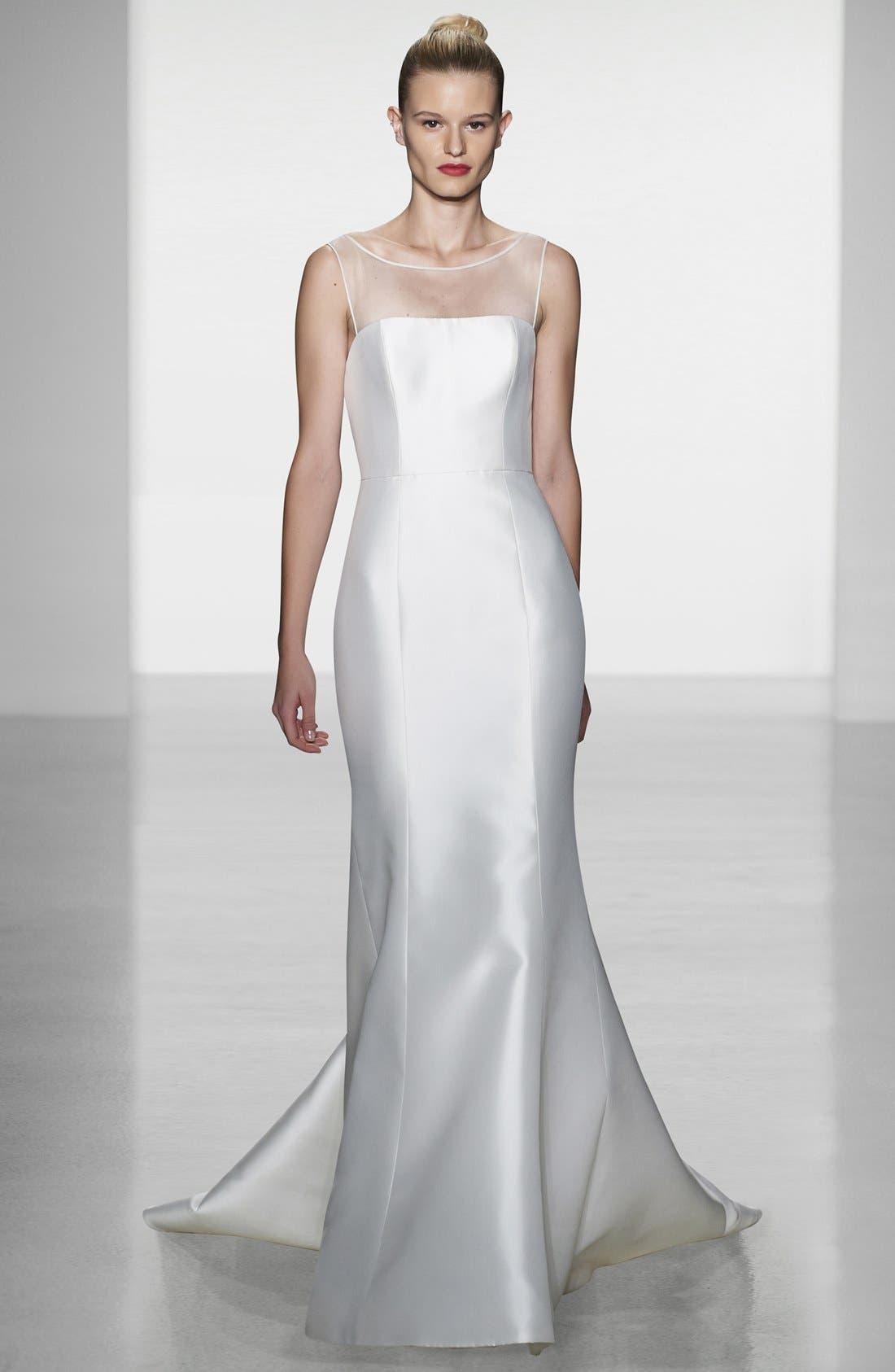 Alternate Image 4  - Amsale Preston Silk Magnolia Sheath Wedding Dress