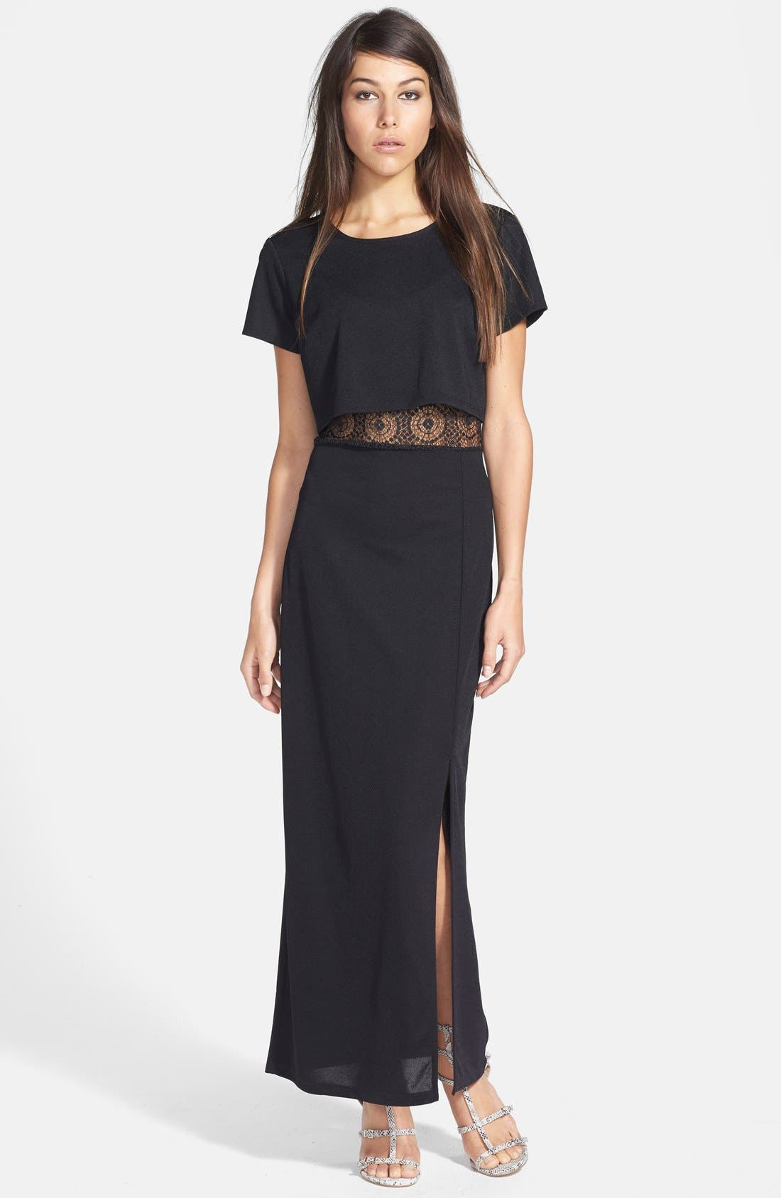 Main Image - June & Hudson Lace Panel Maxi Dress (Black)