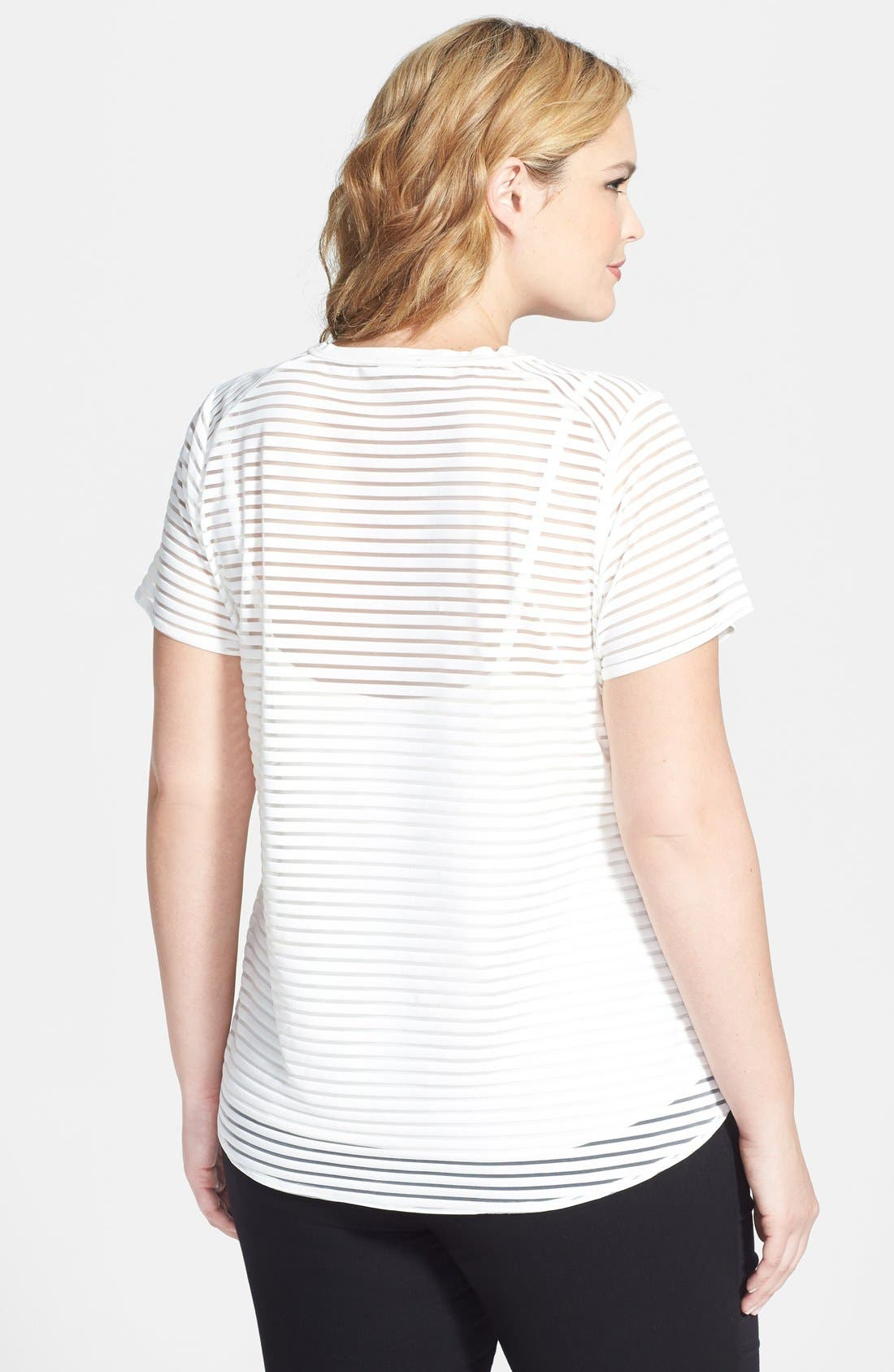 Alternate Image 2  - Vince Camuto Sheer Stripe Tee & Camisole (Plus Size)