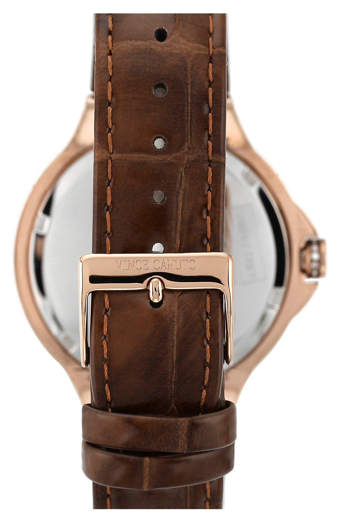 Alternate Image 2  - Vince Camuto Crystal Bezel Multifunction Leather Strap Watch, 42mm