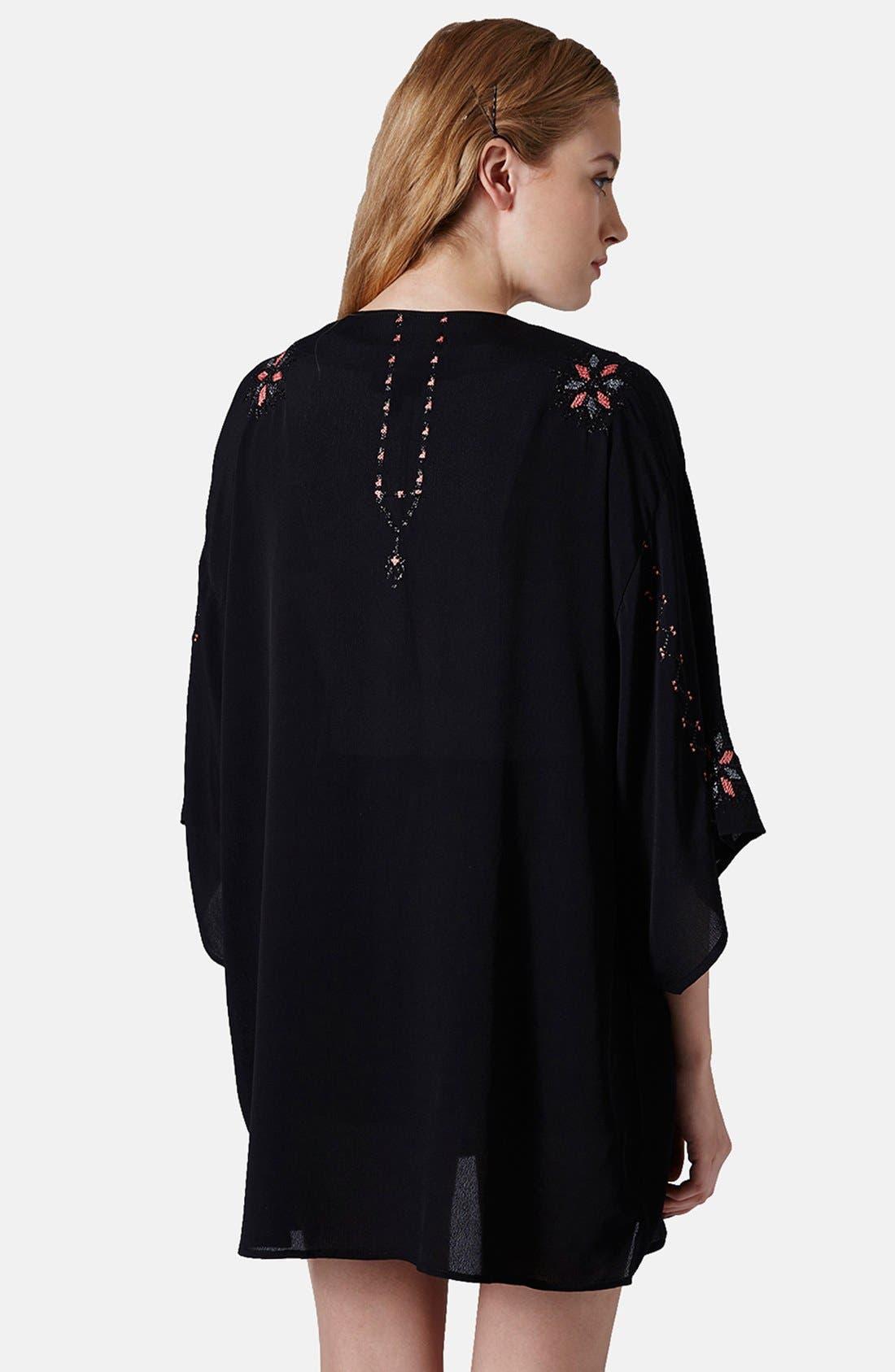 Alternate Image 2  - Topshop Embroidered Kimono Jacket