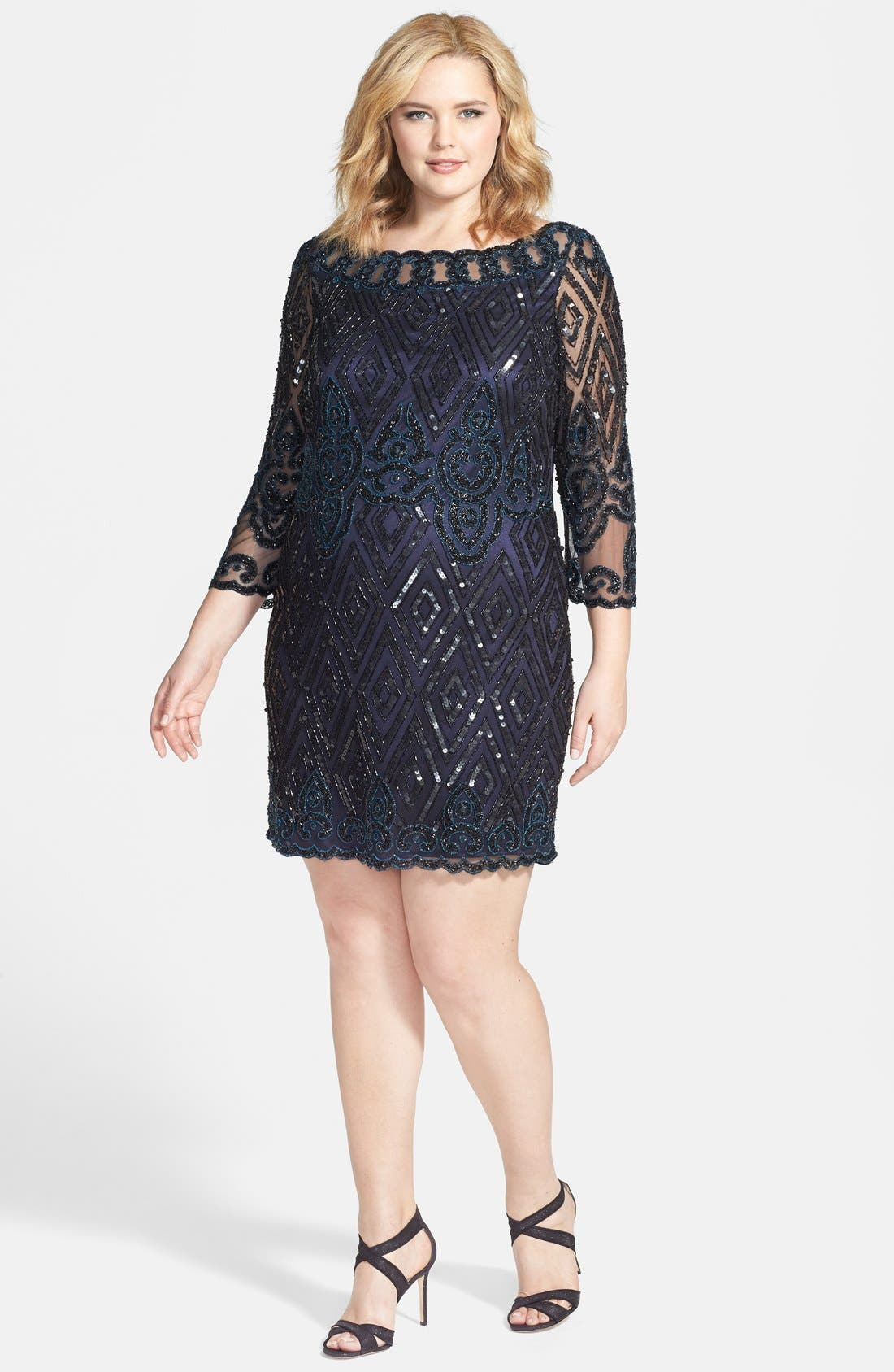 Main Image - Pisarro Nights Embellished Short Cocktail Dress (Plus Size)