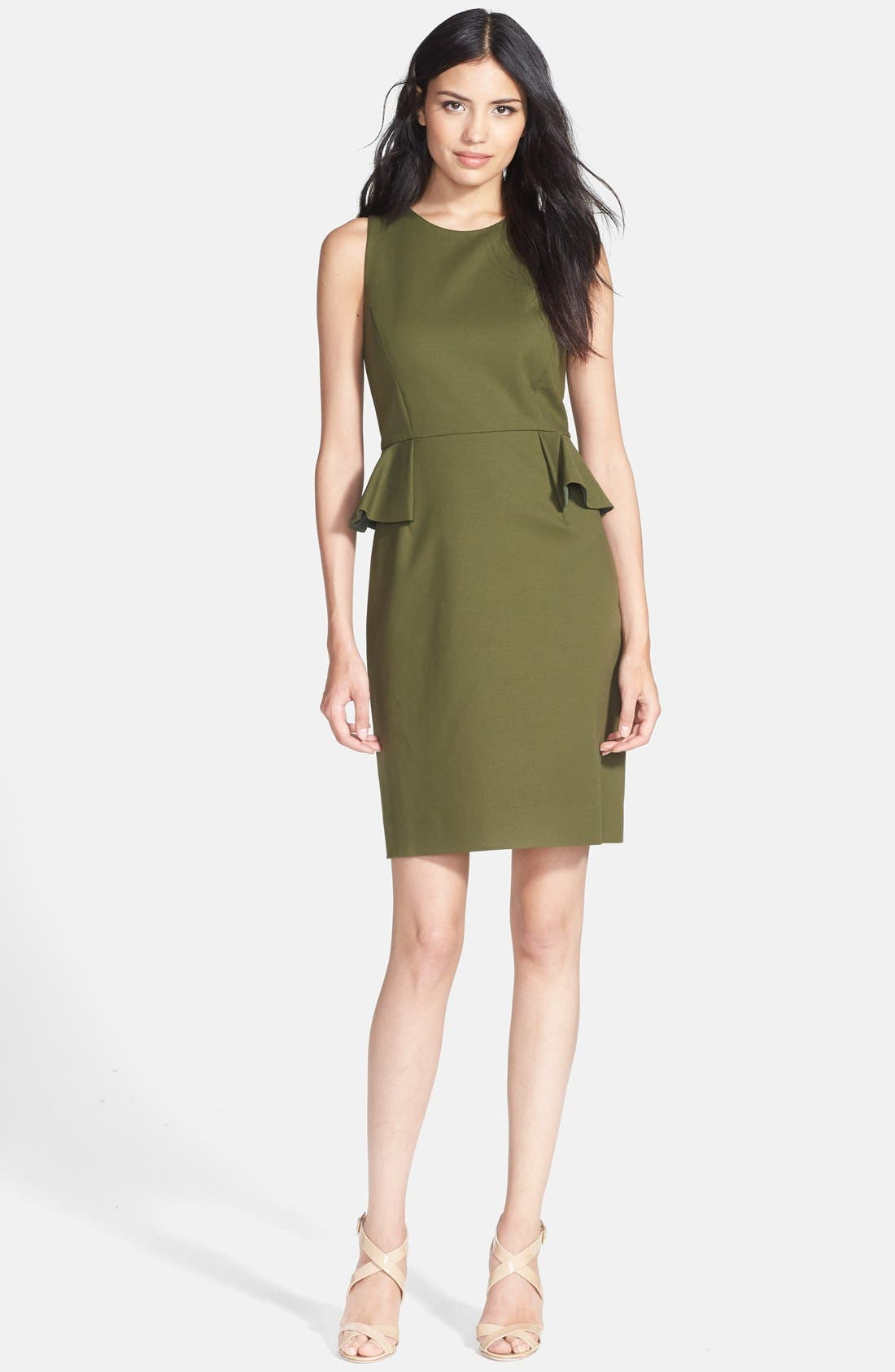 Alternate Image 1 Selected - kate spade new york peplum stretch cotton sheath dress