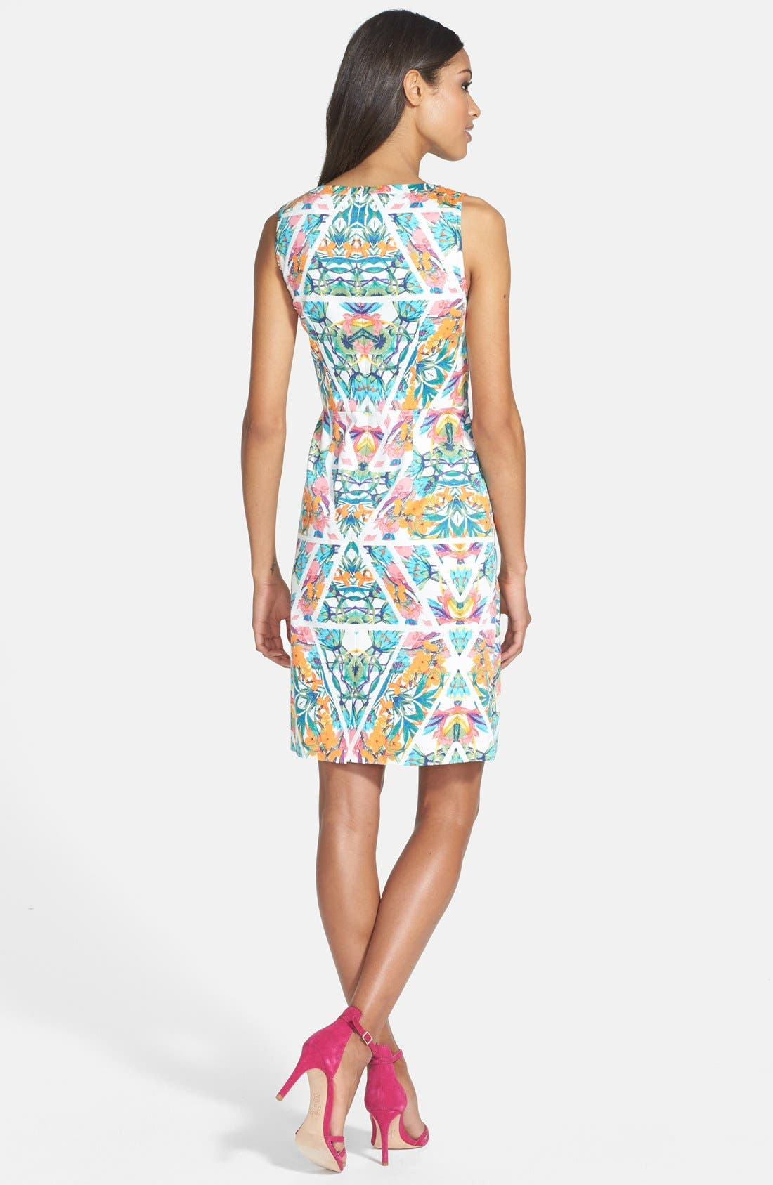 Alternate Image 2  - Adrianna Papell Caged Yoke Floral Print Sheath Dress