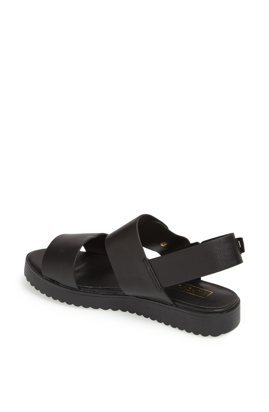 'Hydrate' Faux Leather Sandals,                             Alternate thumbnail 2, color,                             Black