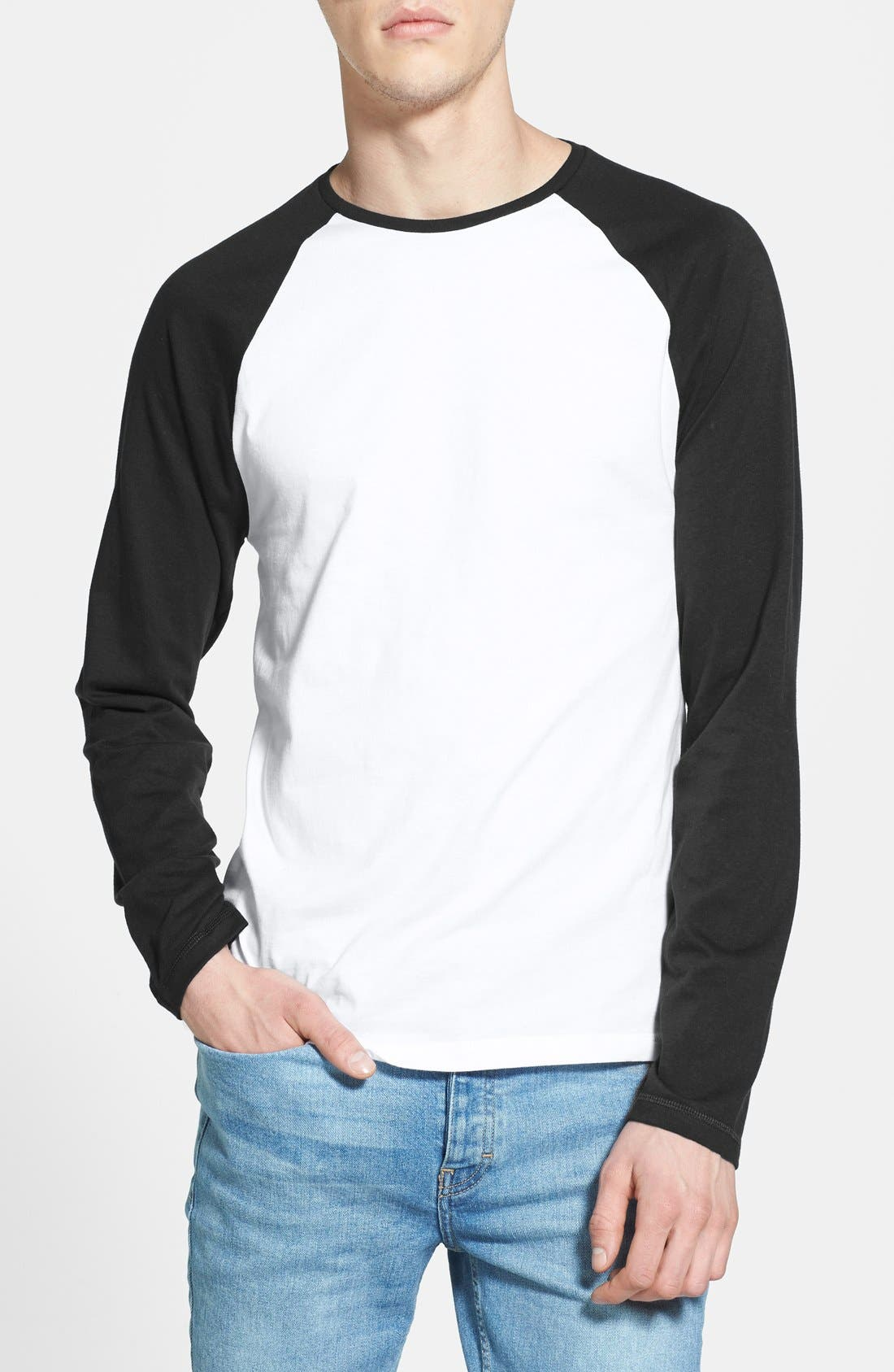 Alternate Image 1 Selected - Topman Long Sleeve Baseball T-Shirt