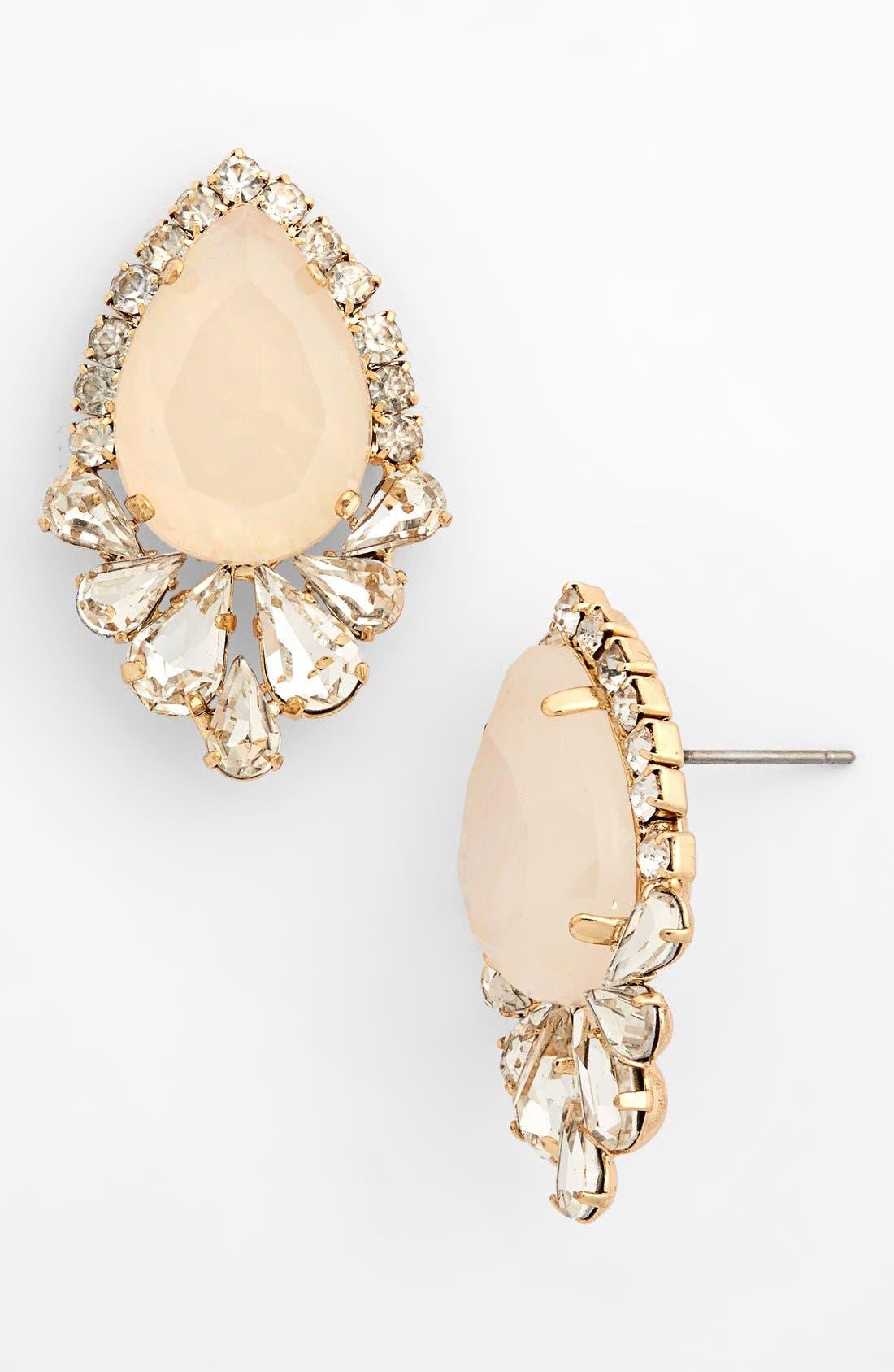 Crystal Framed Teardrop Stud Earrings,                             Main thumbnail 1, color,                             Crystal