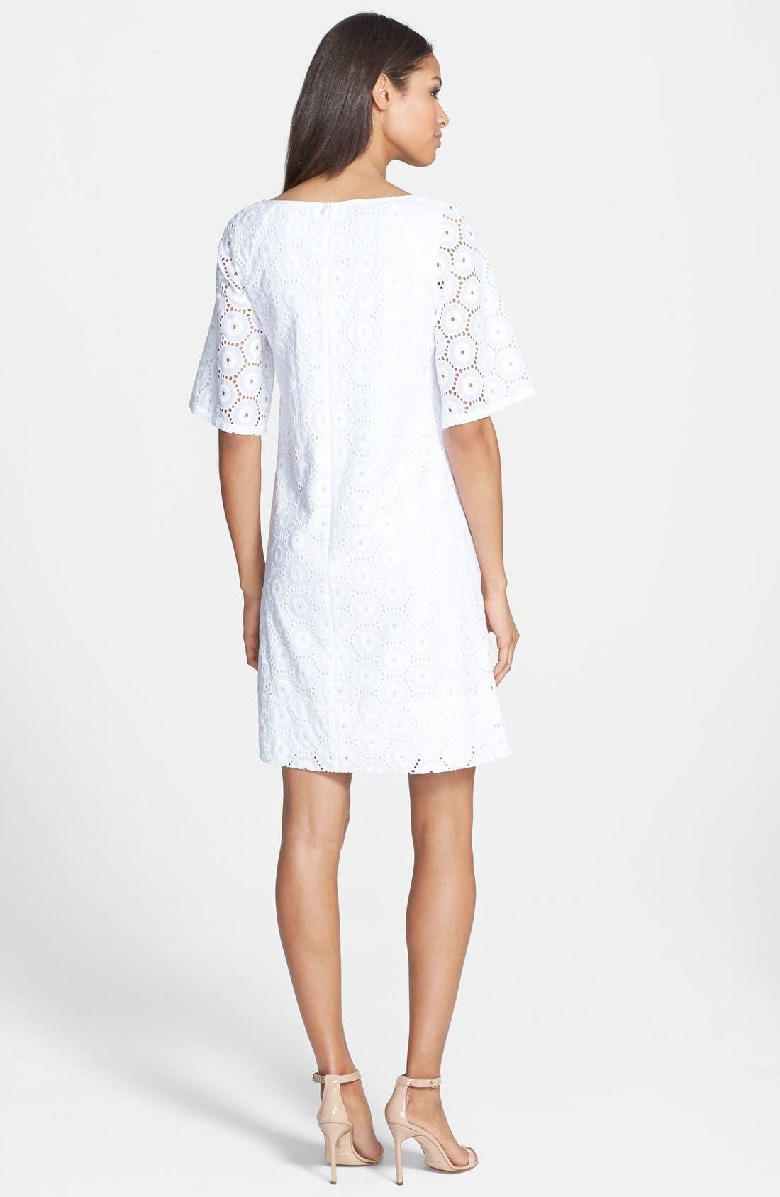 Alternate Image 2  - Adrianna Papell Eyelet Shift Dress