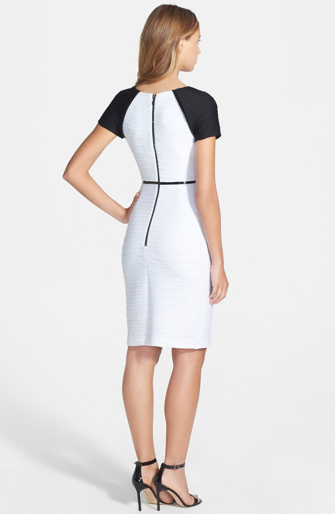 Alternate Image 2  - Nue by Shari Colorblock Ottoman Knit Sheath Dress