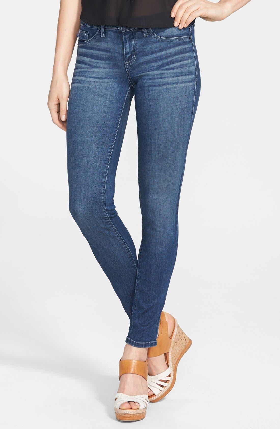 Alternate Image 1 Selected - SP Black Low Rise Skinny Jeans (Medium) (Juniors)