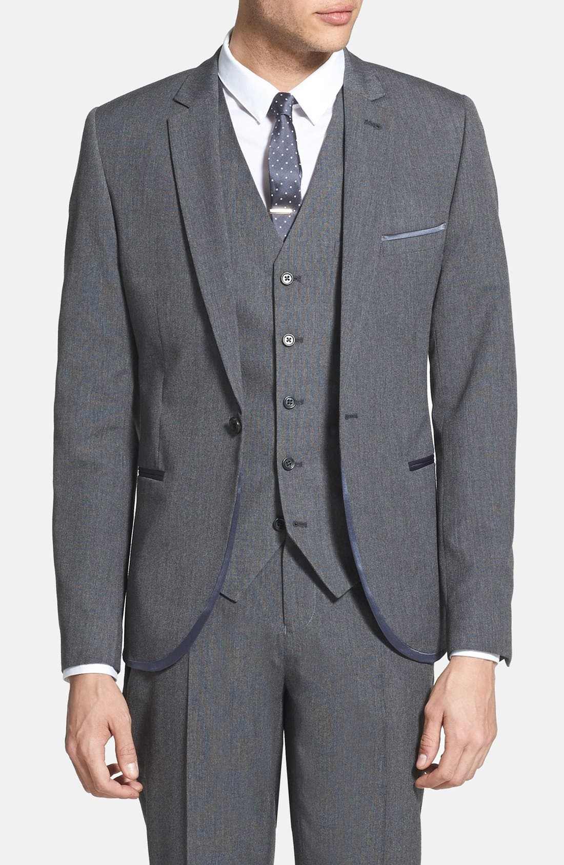 Main Image - Topman Skinny Fit Satin Trim Grey Suit Jacket
