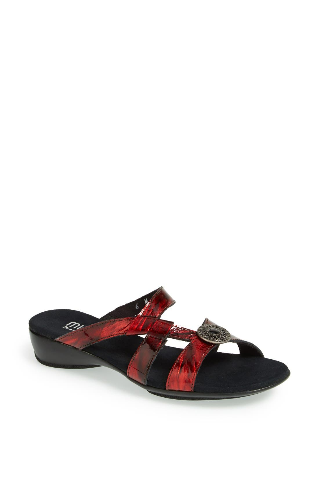 'Chloe' Leather Slide,                             Main thumbnail 1, color,                             Red Metal