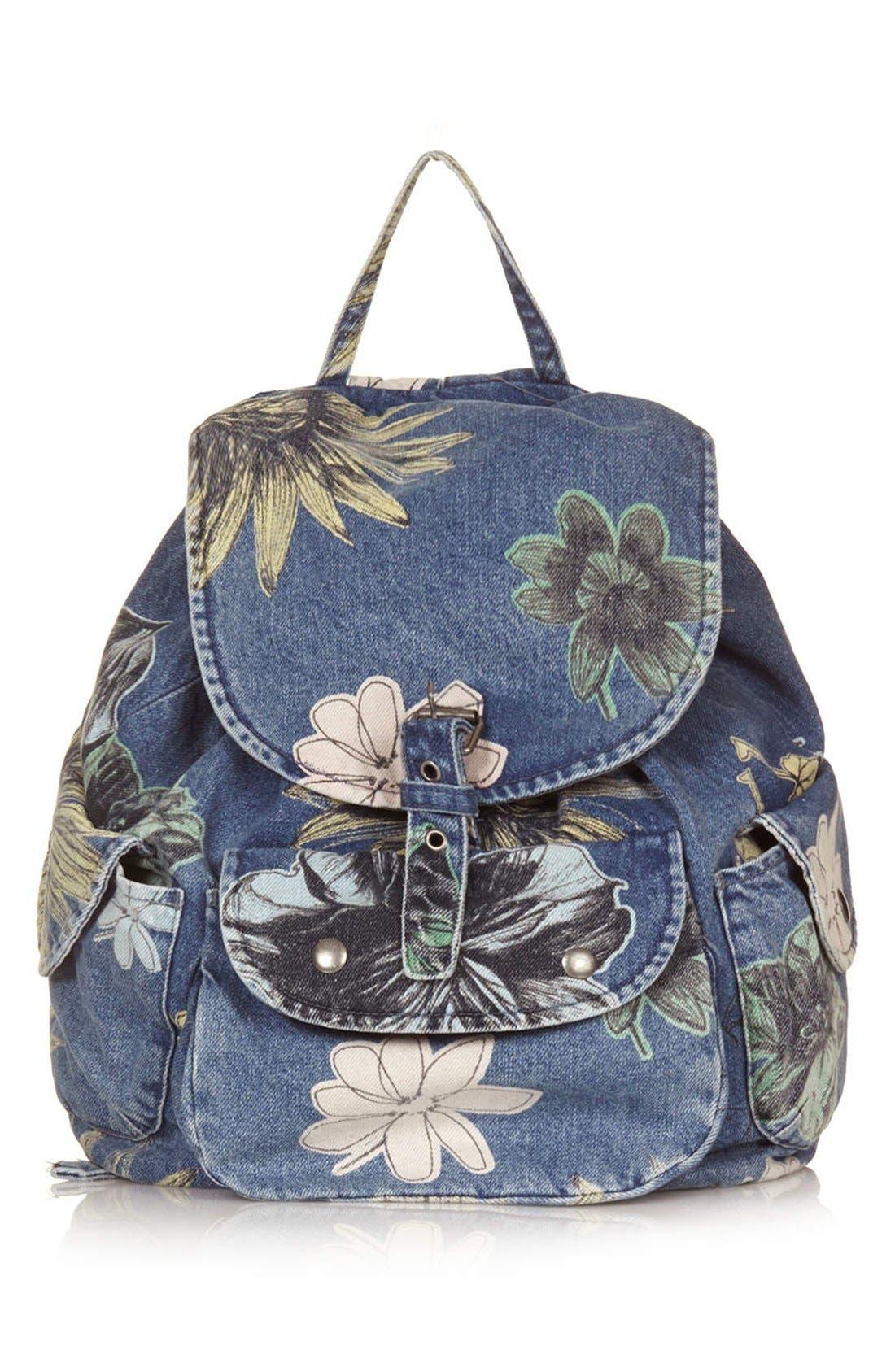 Main Image - Topshop 'Mom' Floral Denim Backpack
